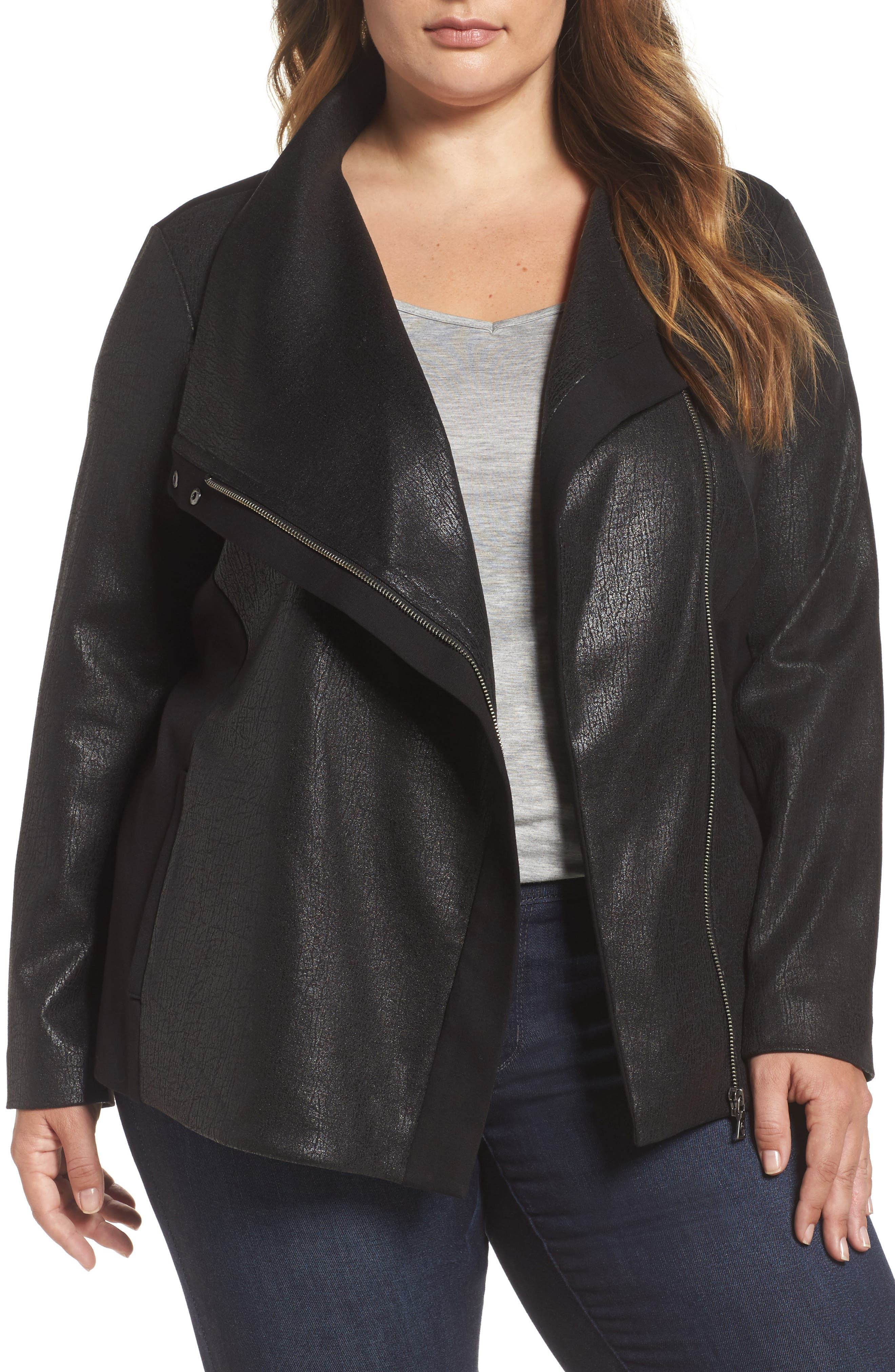 Two by Vince Camuto Coated Ponte Knit Moto Jacket (Plus Size)