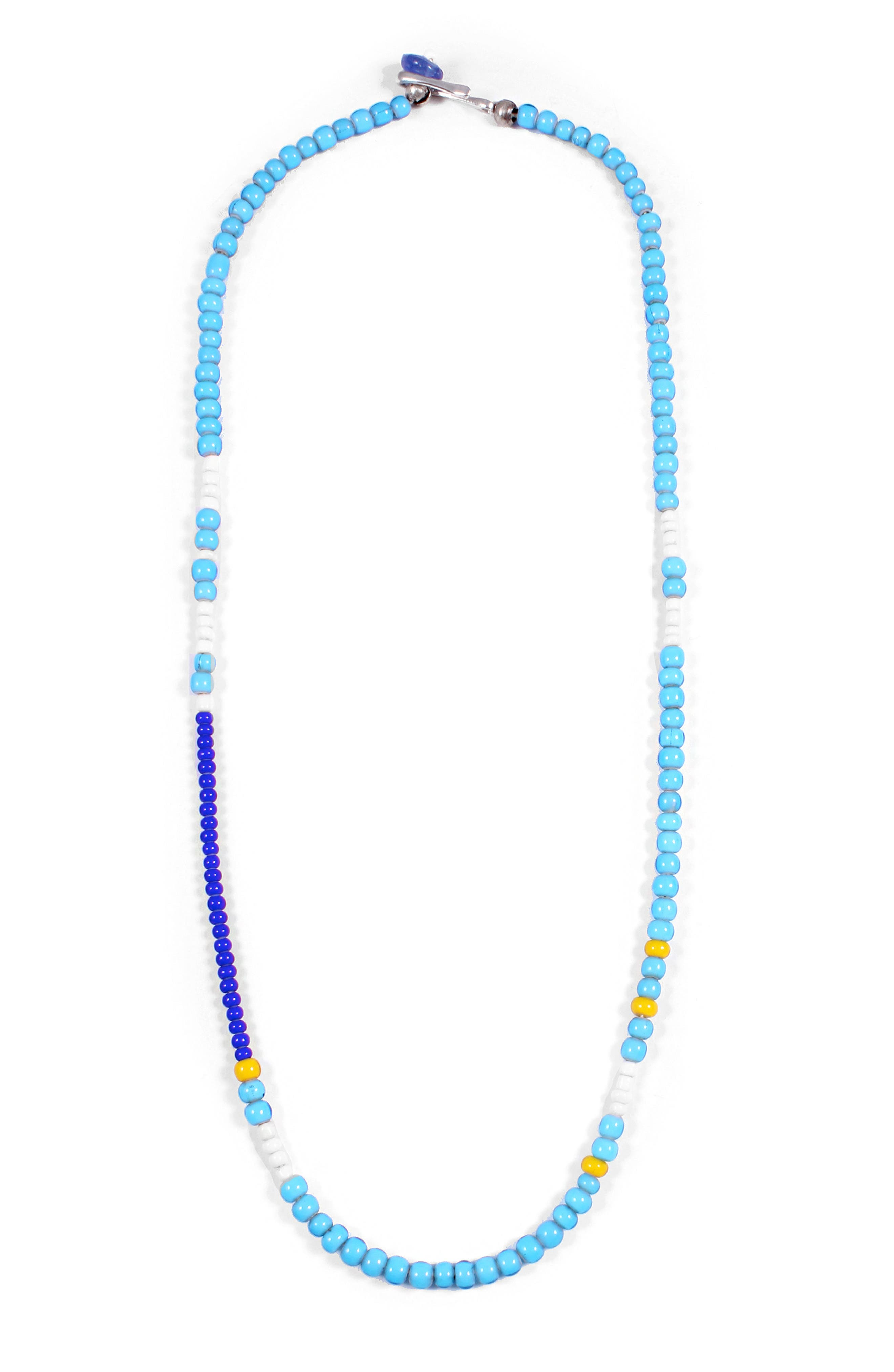 Calm Morse Necklace,                         Main,                         color, Blue/ White/ Yellow