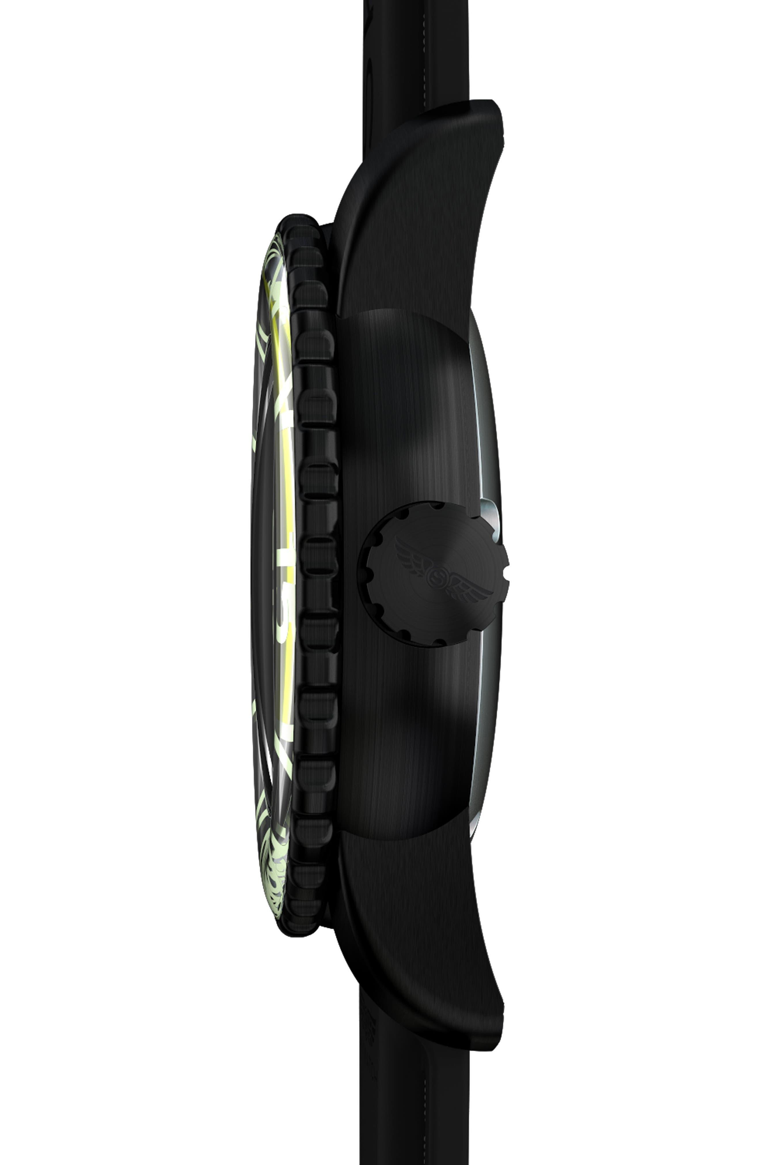 Classic Rubber Strap Watch, 44mm,                             Alternate thumbnail 3, color,                             Black/ Black