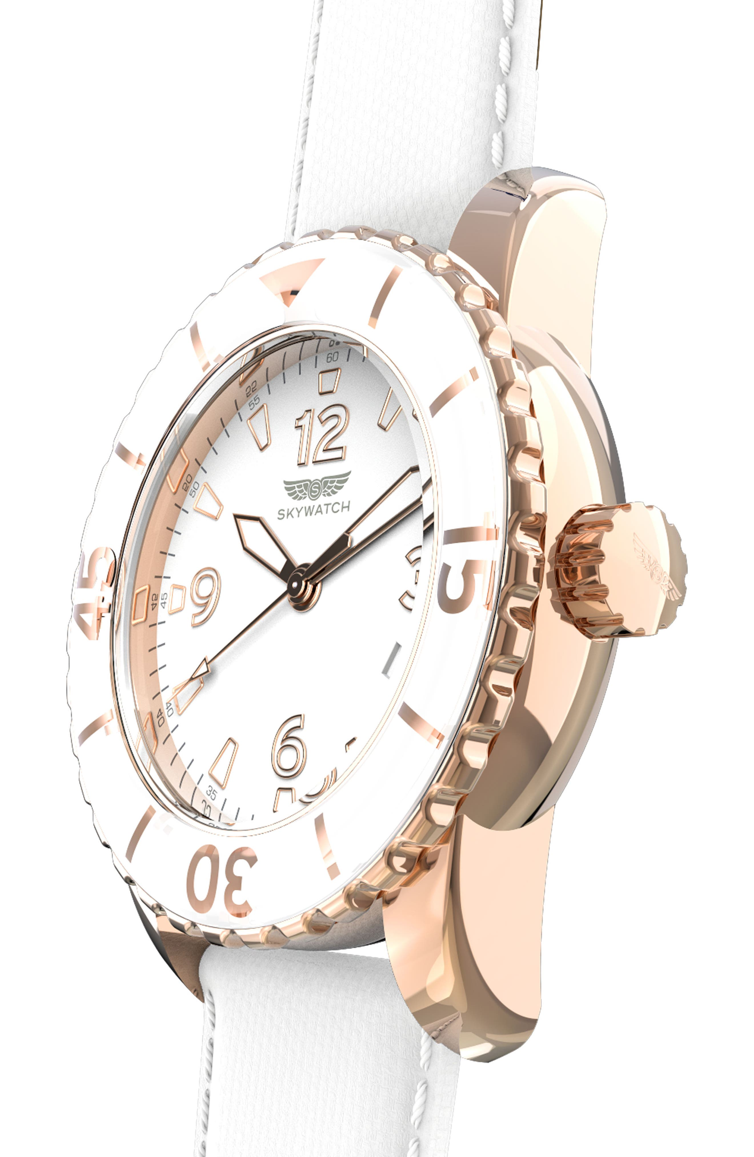 Classic Woven Strap Watch, 44mm,                             Alternate thumbnail 4, color,                             White/ White