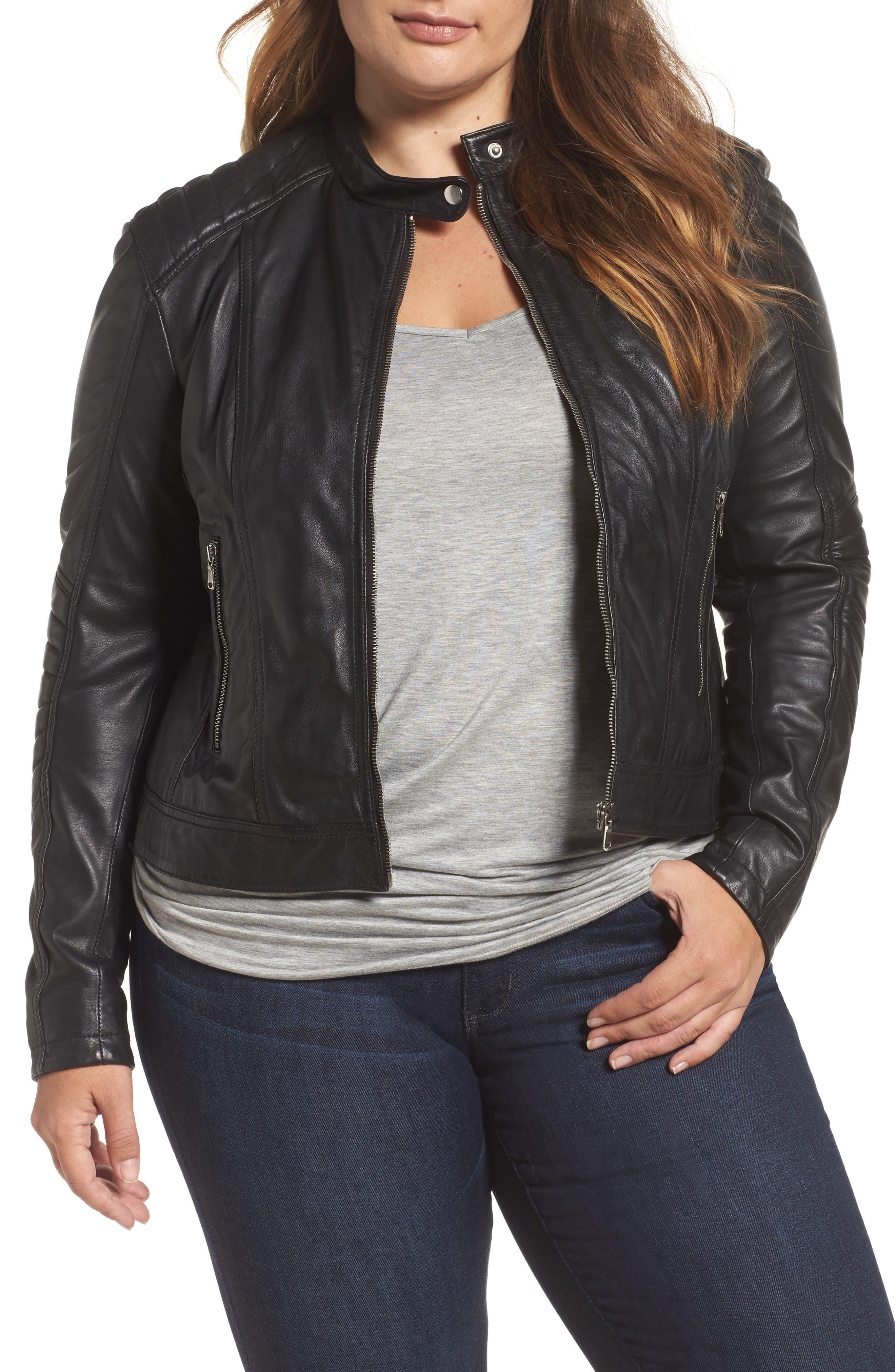 SLINK Jeans Leather Moto Jacket (Plus Size)