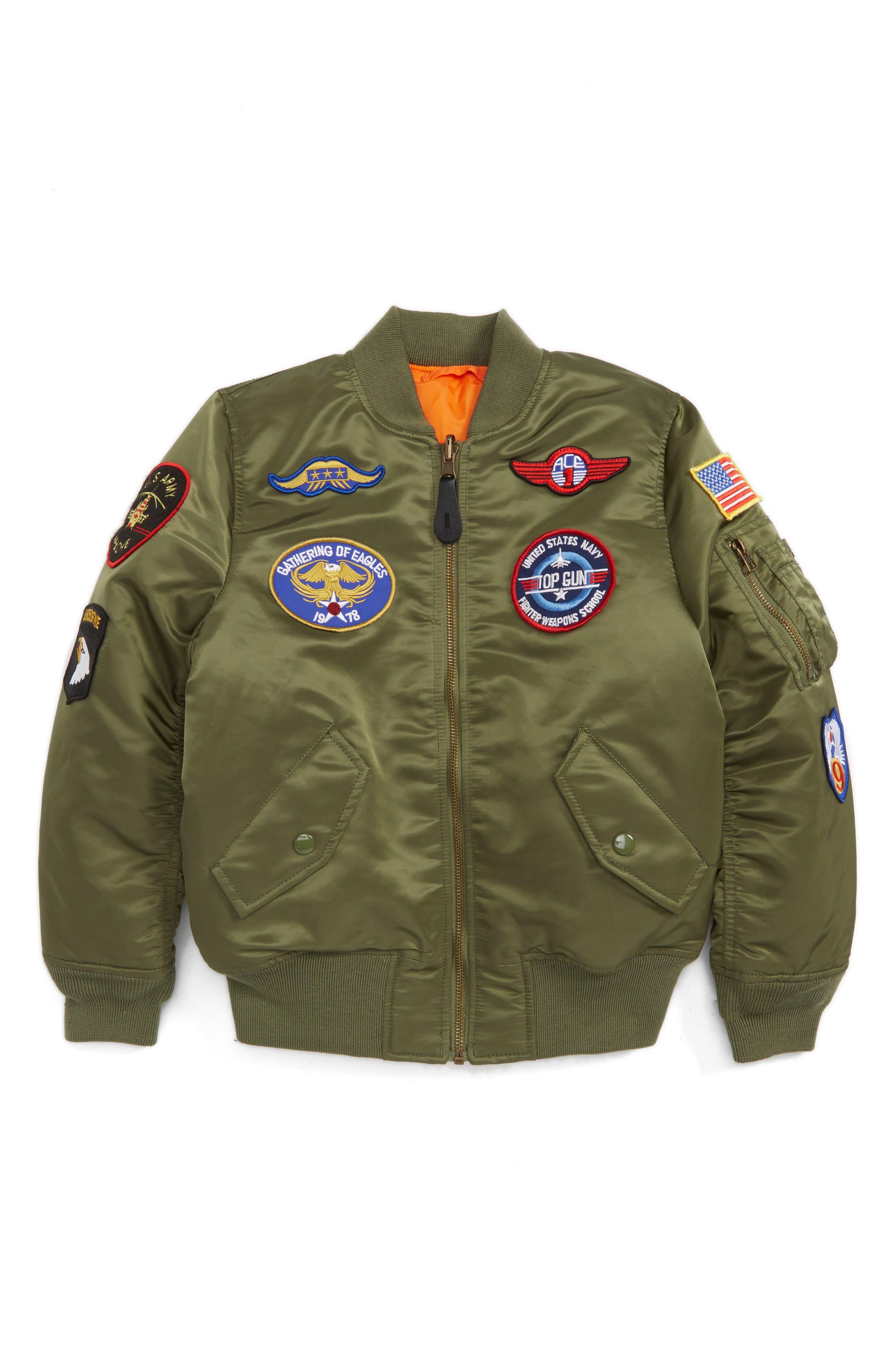 Alpha Industries MA-1 Patch Flight Jacket (Toddler Boys, Little Boys & Big Boys)