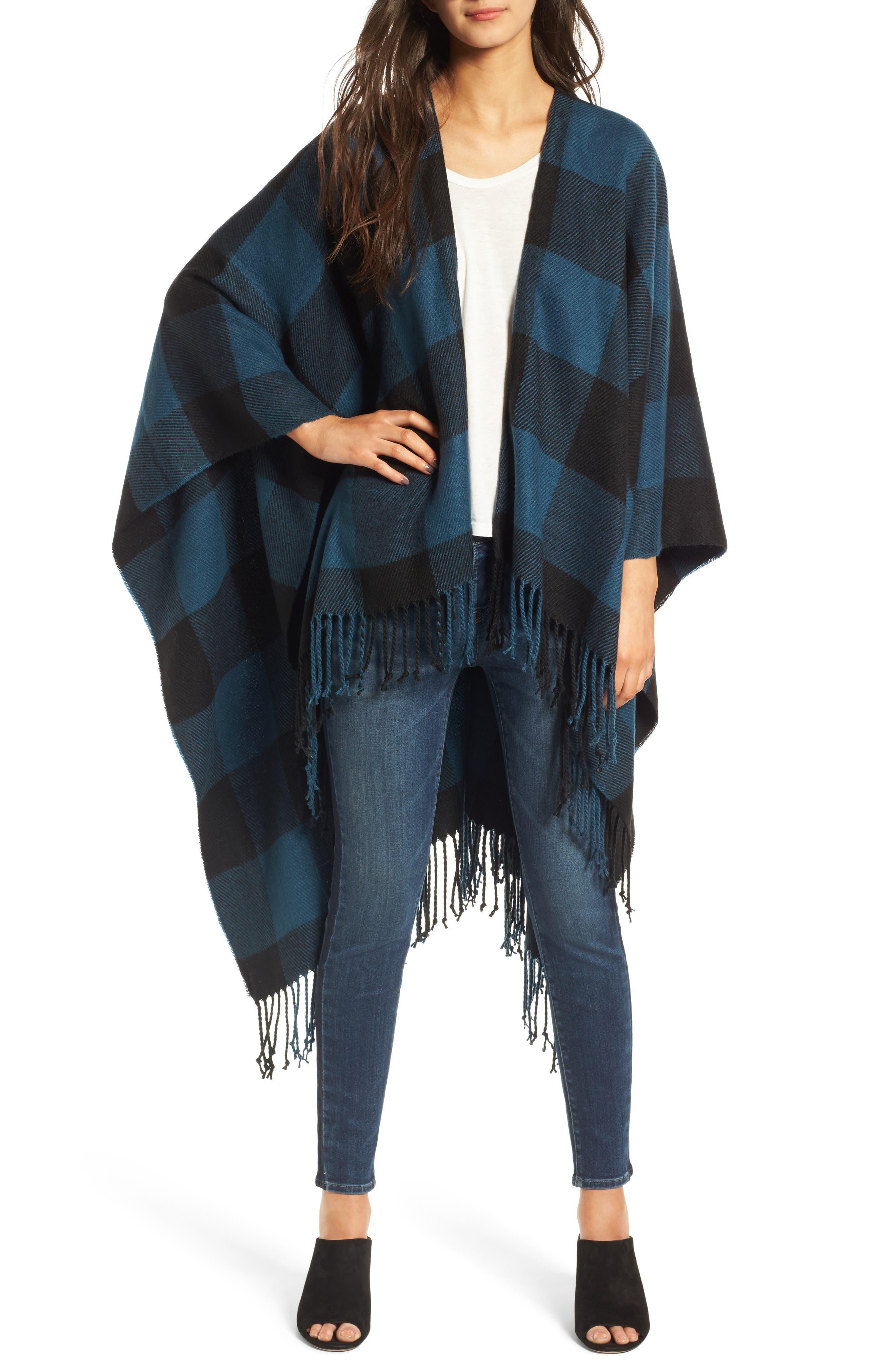 Woven Buffalo Check Ruana,                         Main,                         color, Blue Combo