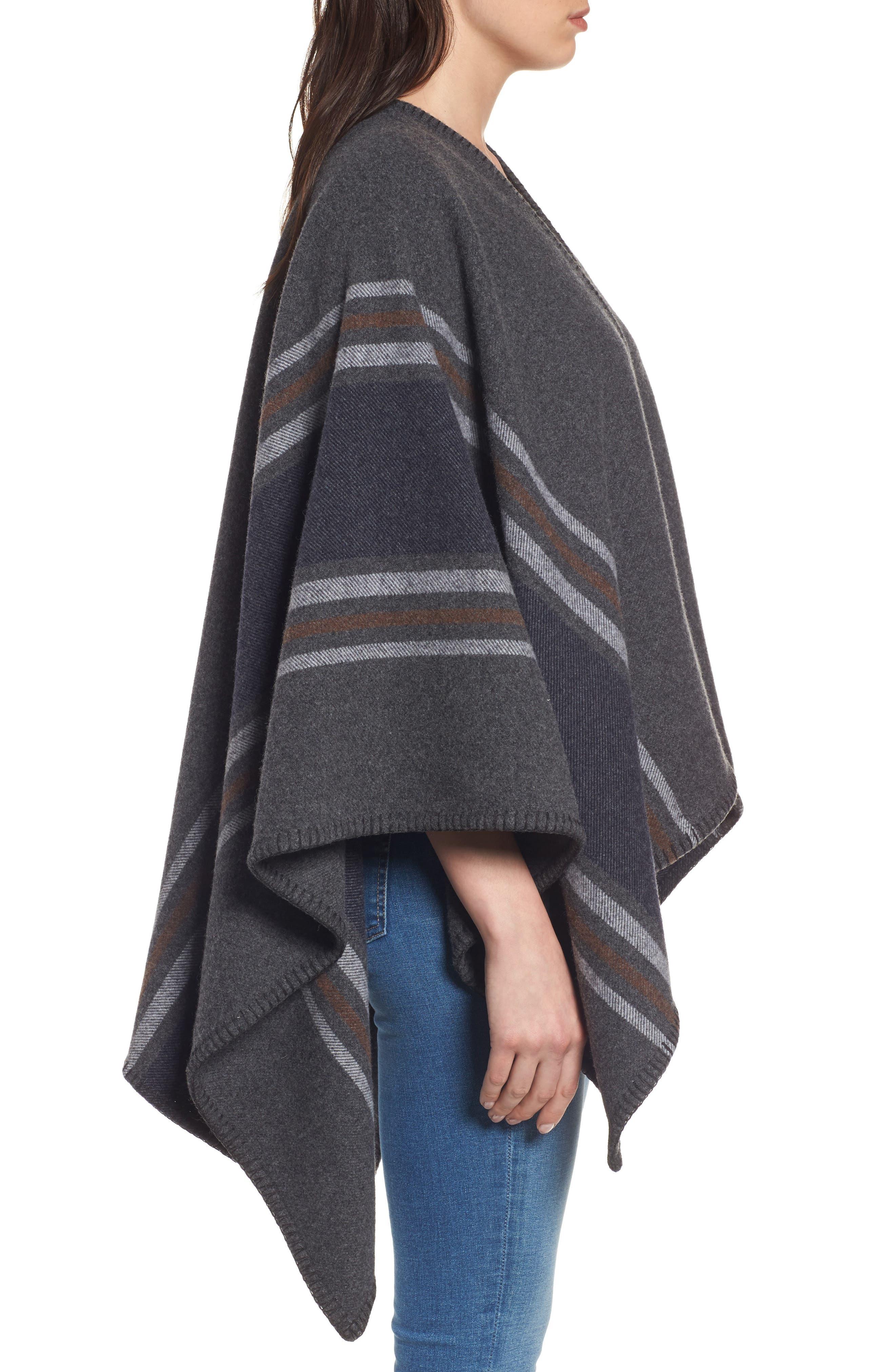 Addison Stripe Wool Wrap,                             Alternate thumbnail 4, color,                             Dark Grey