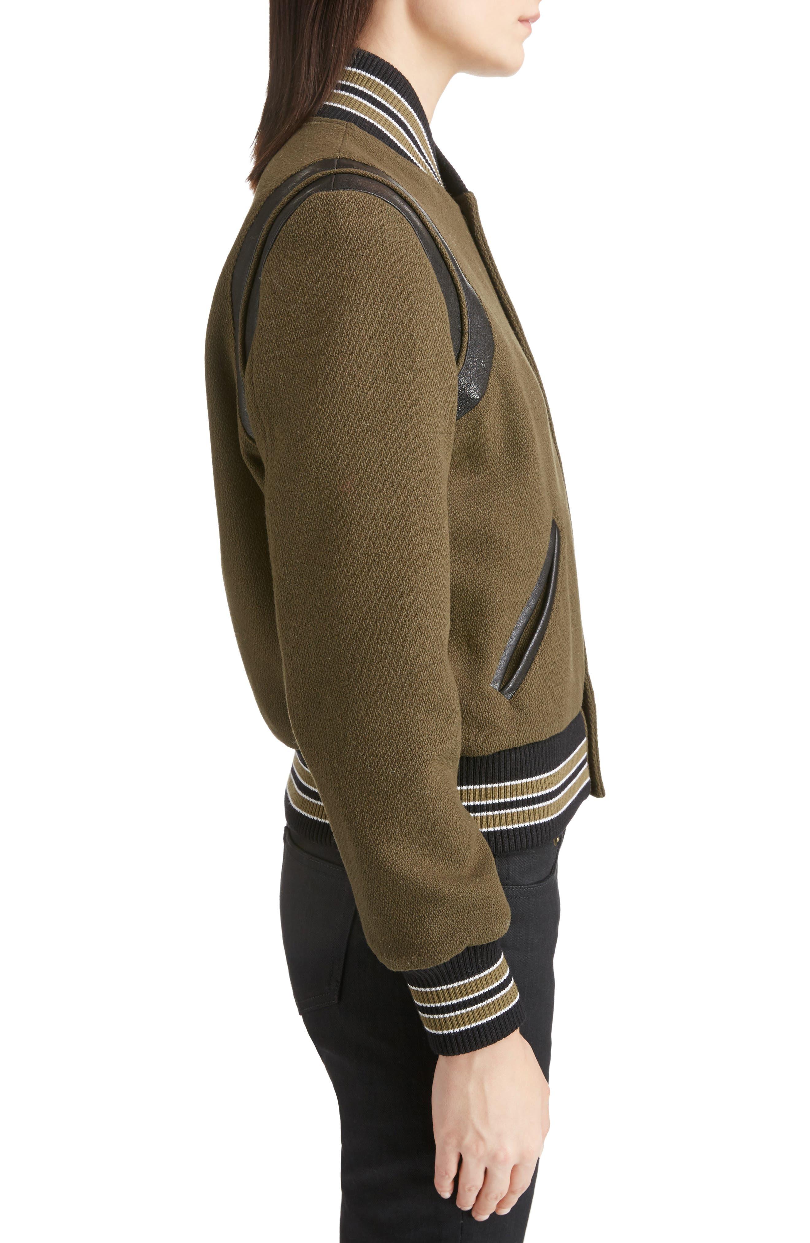 Alternate Image 4  - Saint Laurent Leather Trim Classic Teddy Jacket