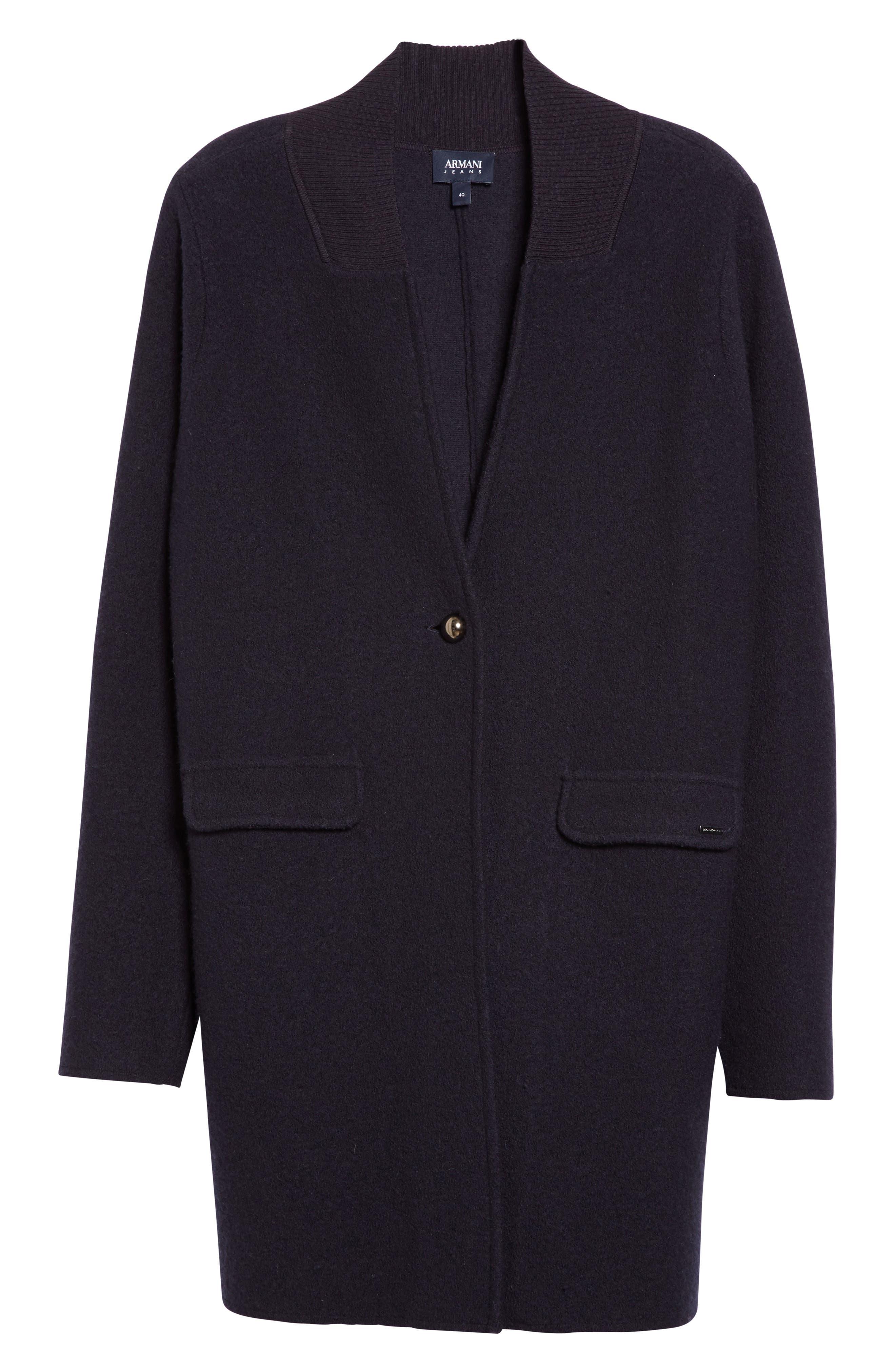 Armani Jeans Single Button Wool Coat,                             Alternate thumbnail 6, color,                             Navy