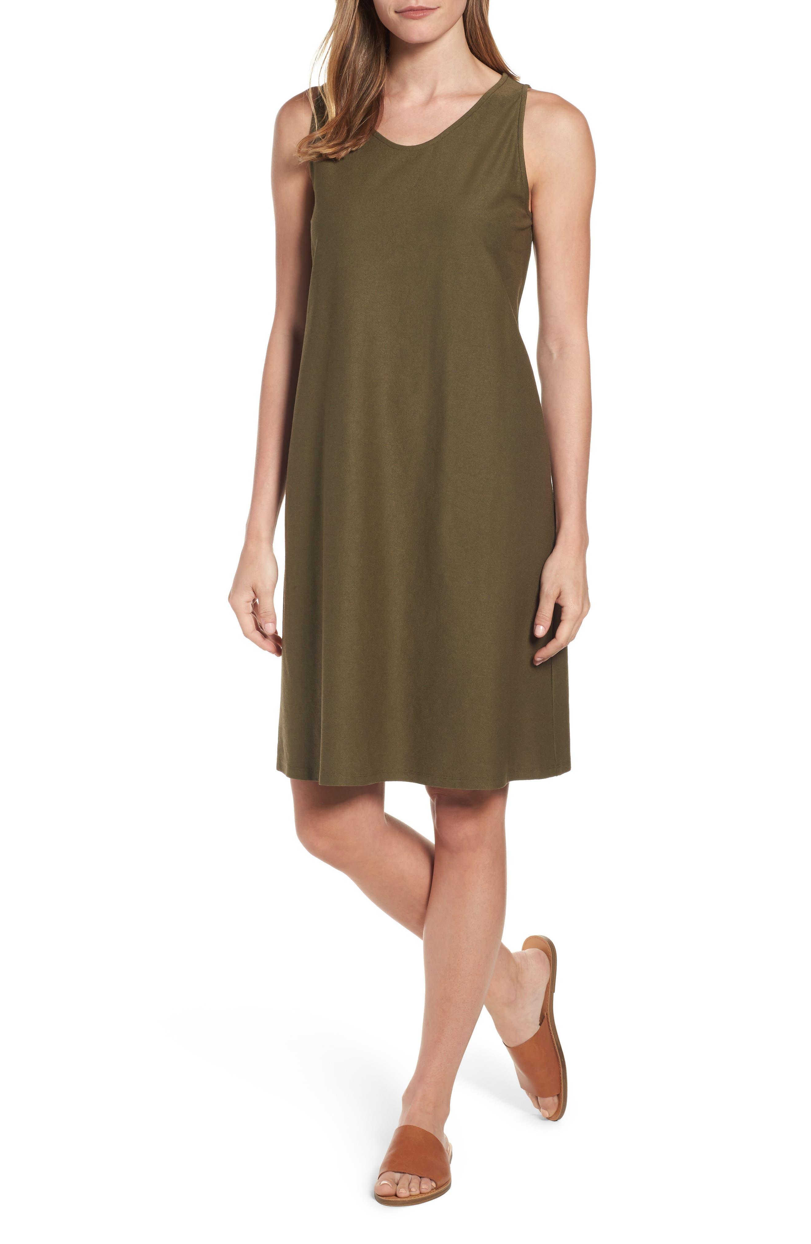 EILEEN FISHER Soft V-Neck Shift Dress