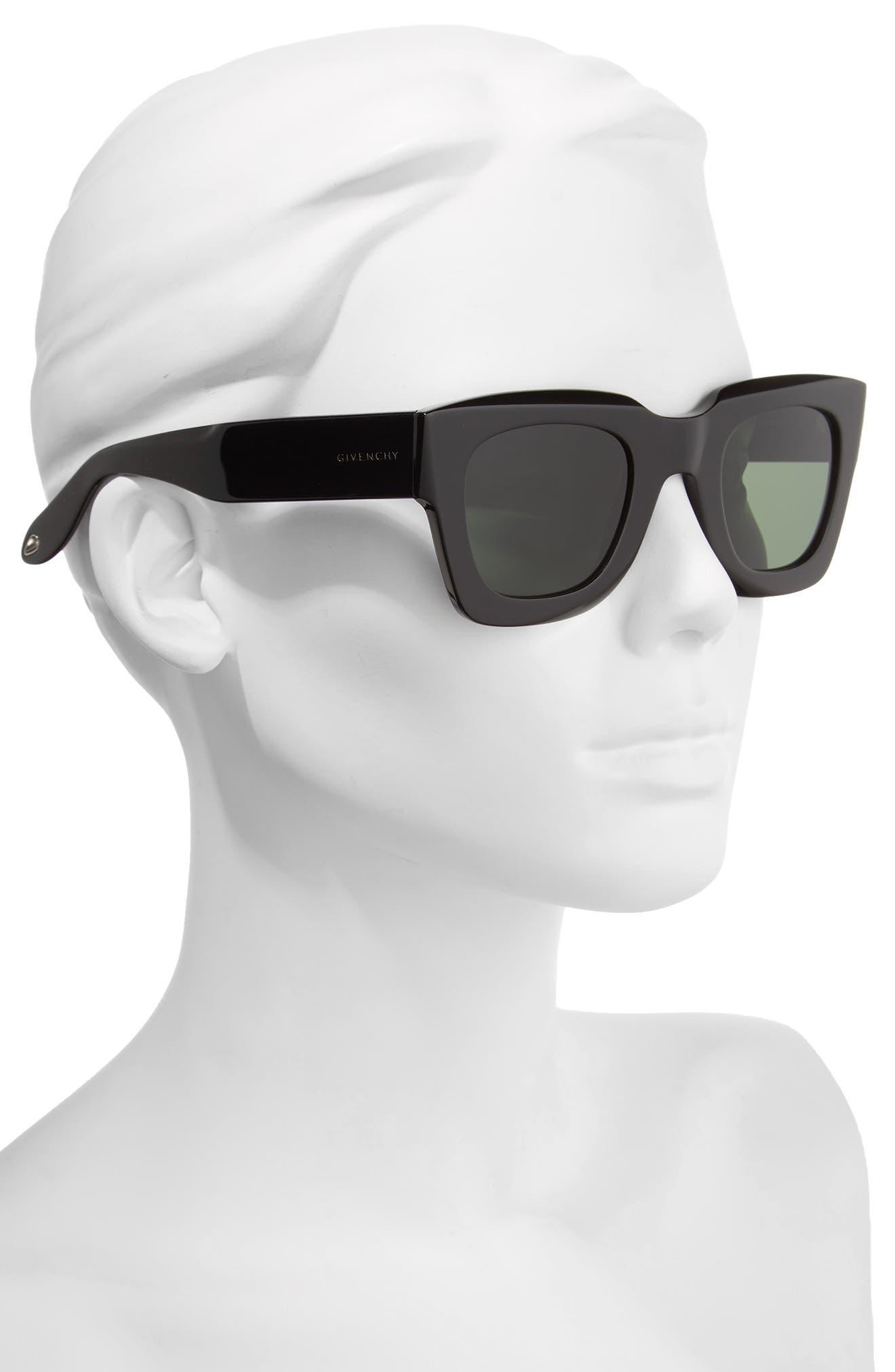 48mm Square Sunglasses,                             Alternate thumbnail 2, color,                             Black