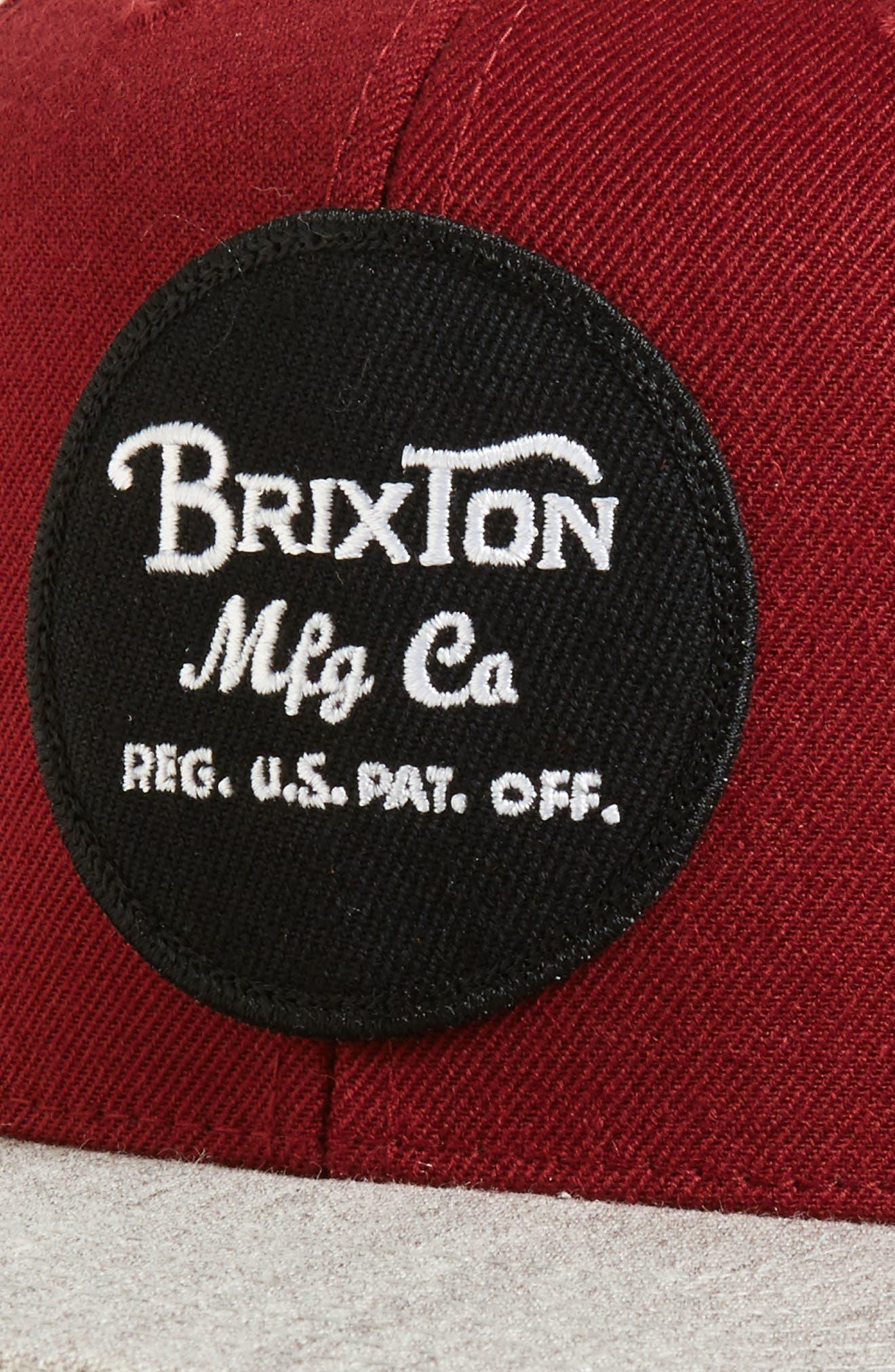 Wheeler Snapback Baseball Cap,                             Alternate thumbnail 3, color,                             Burgundy/ Heather Grey