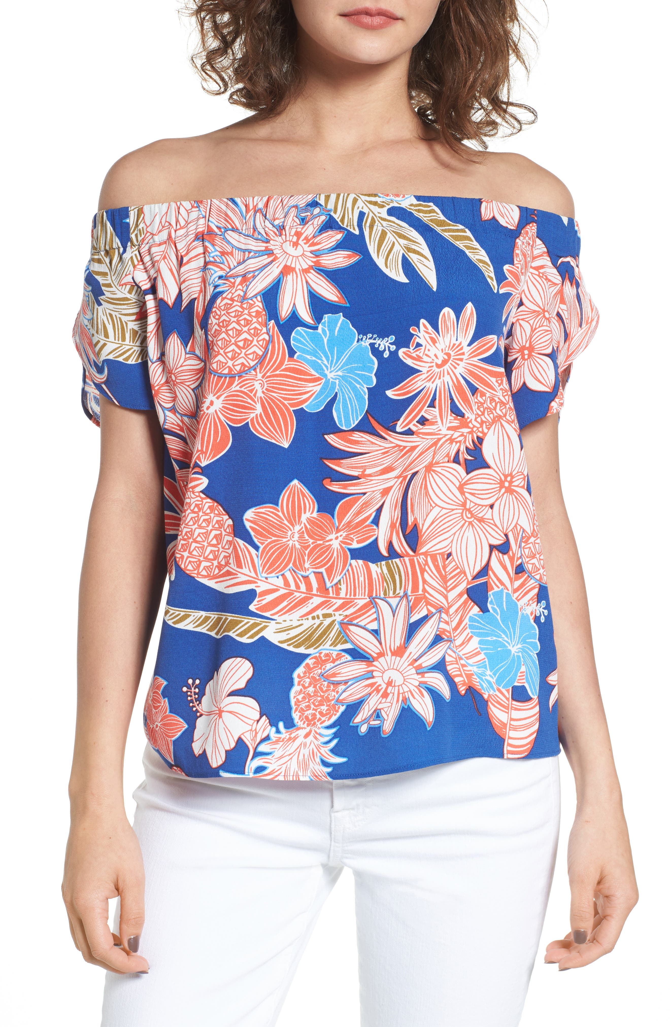 Piper Off the Shoulder Top,                         Main,                         color, Red Tropical Floral Print