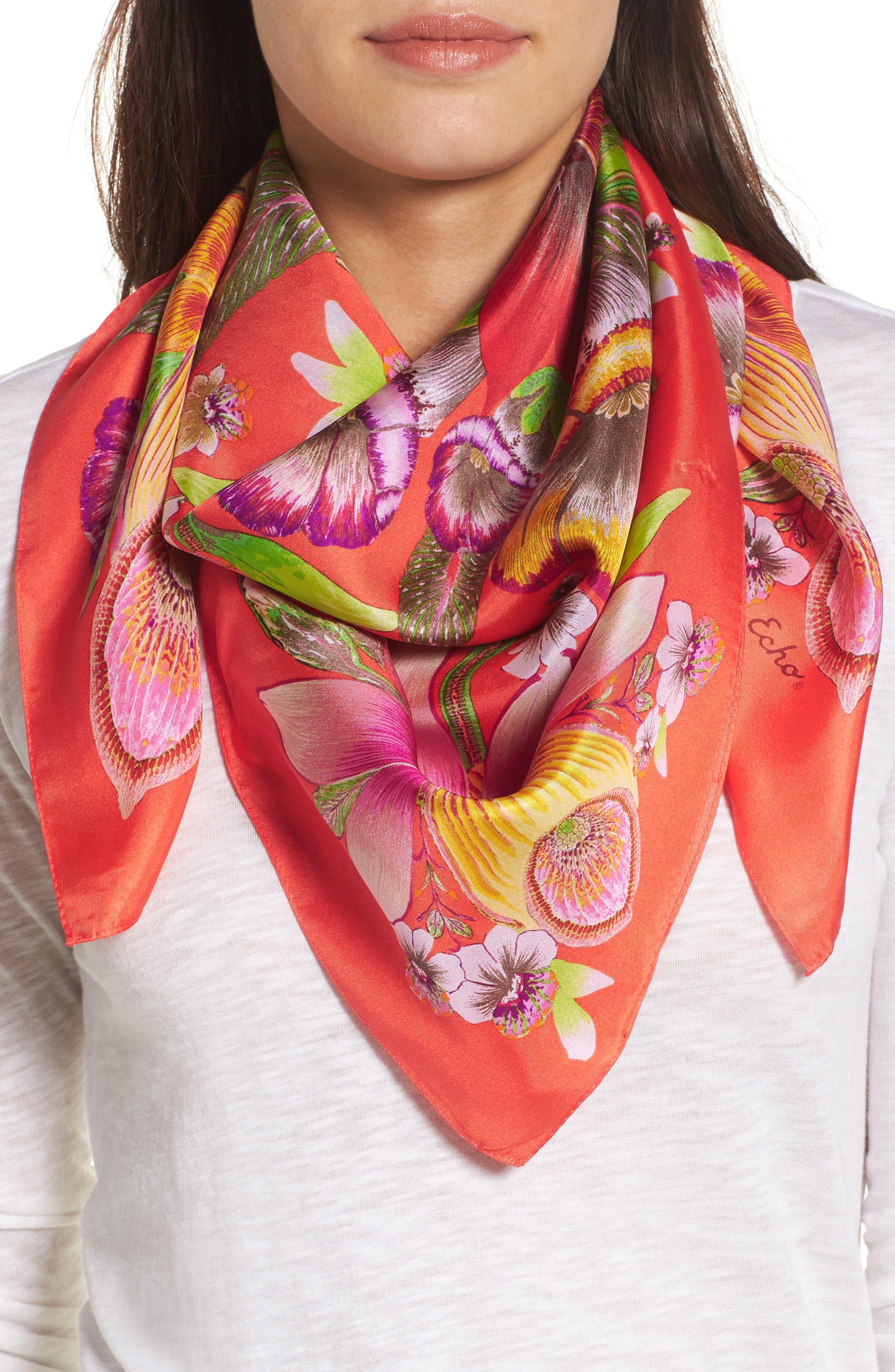 Flora Silk Square Scarf,                         Main,                         color, Bright Coral