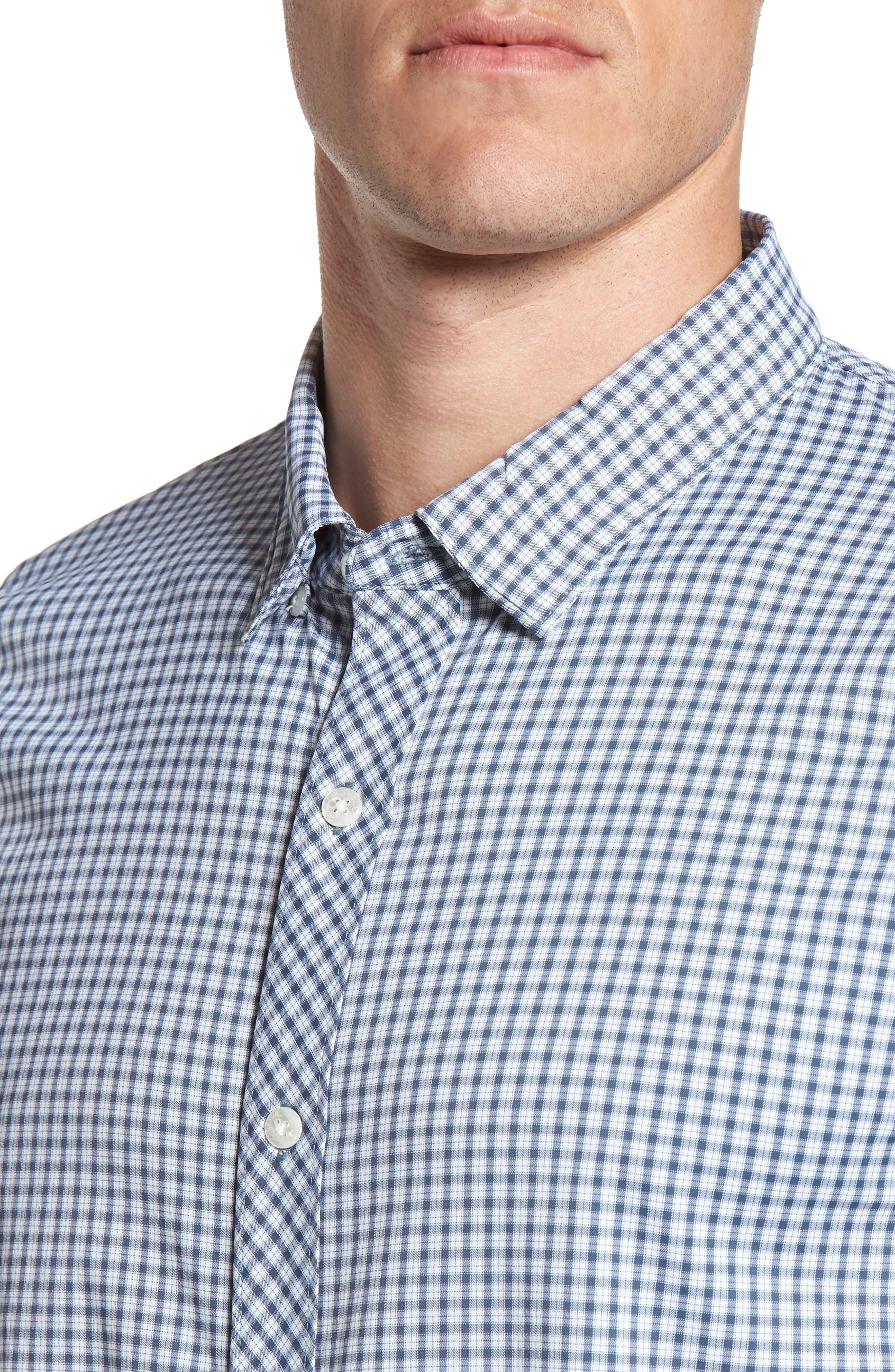 Alternate Image 4  - Travis Mathew Barker Trim Fit Plaid Sport Shirt