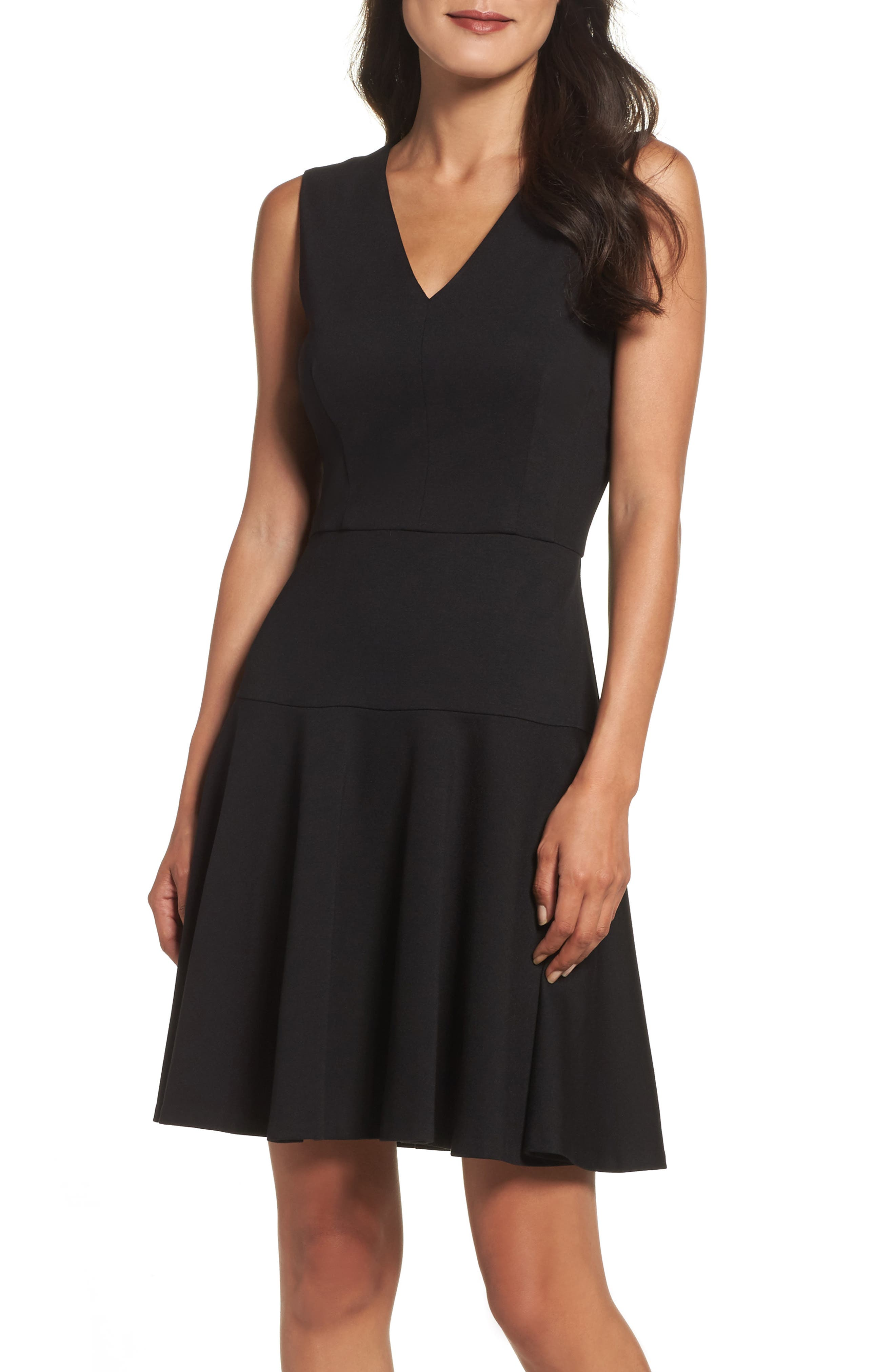 Eliza J Ponte Fit & Flare Dress