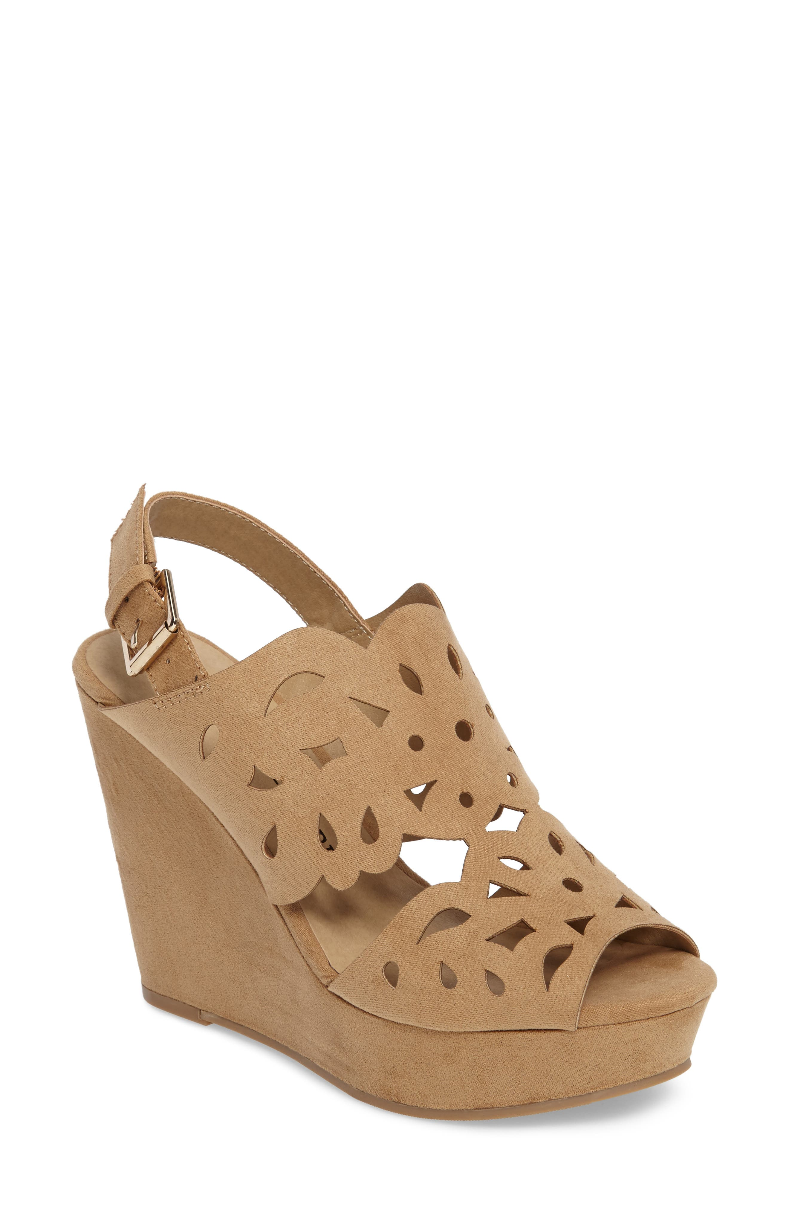 In Love Wedge Sandal,                             Main thumbnail 1, color,                             Light Camel Suede