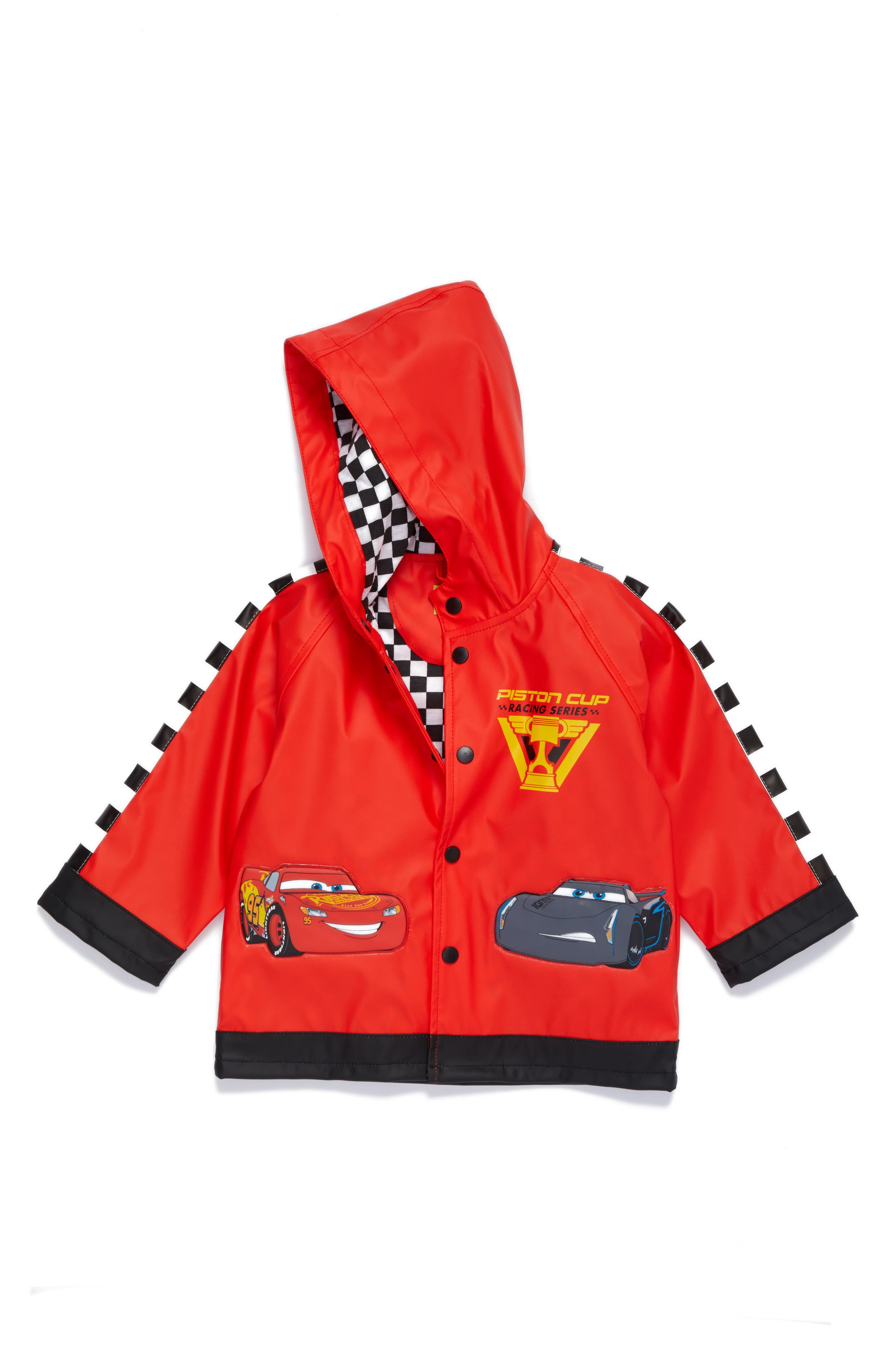 Lightning McQueen Hooded Raincoat,                             Main thumbnail 1, color,                             Red