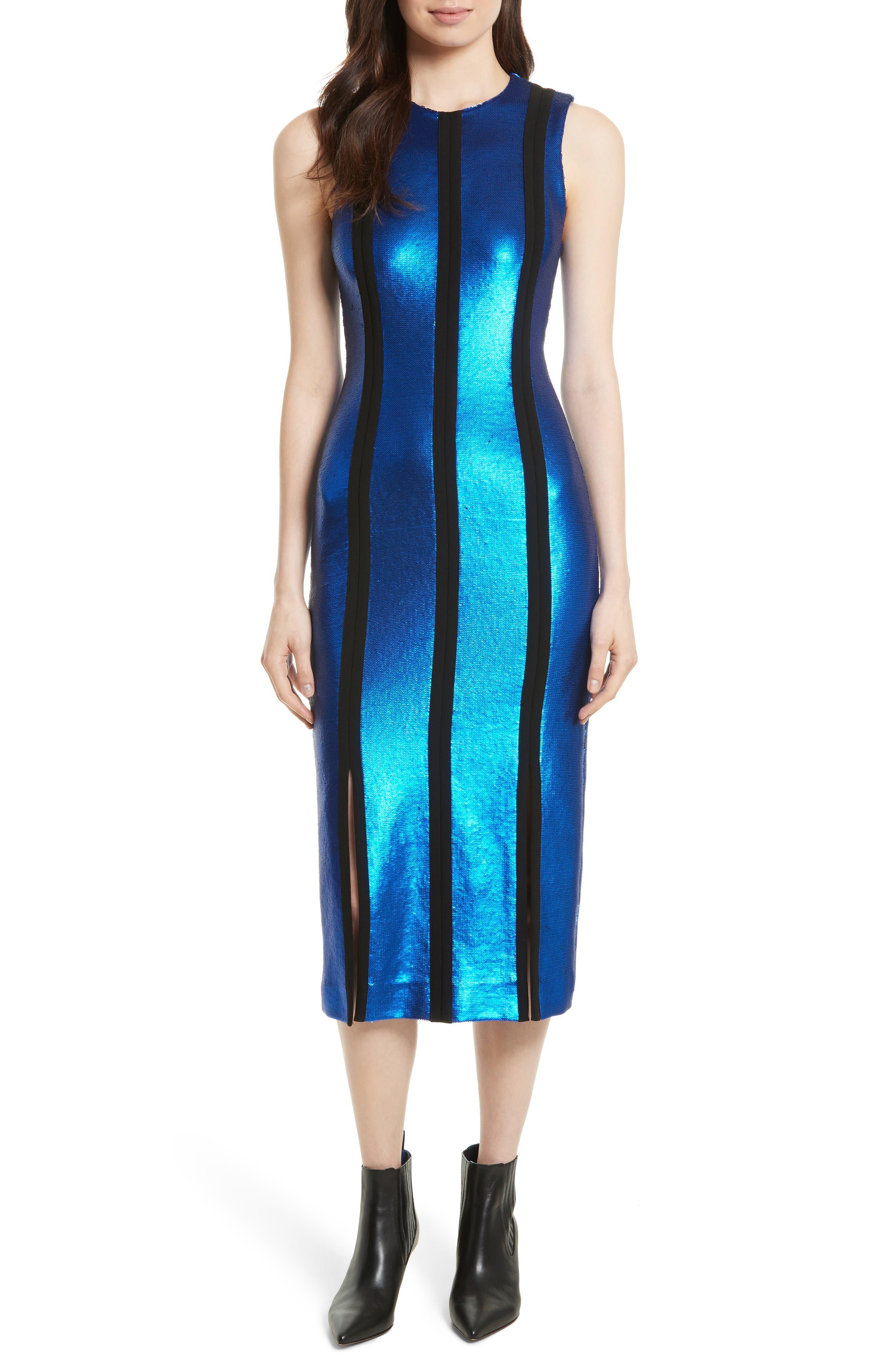 Diane von Furstenberg Sequin Panel Midi Dress