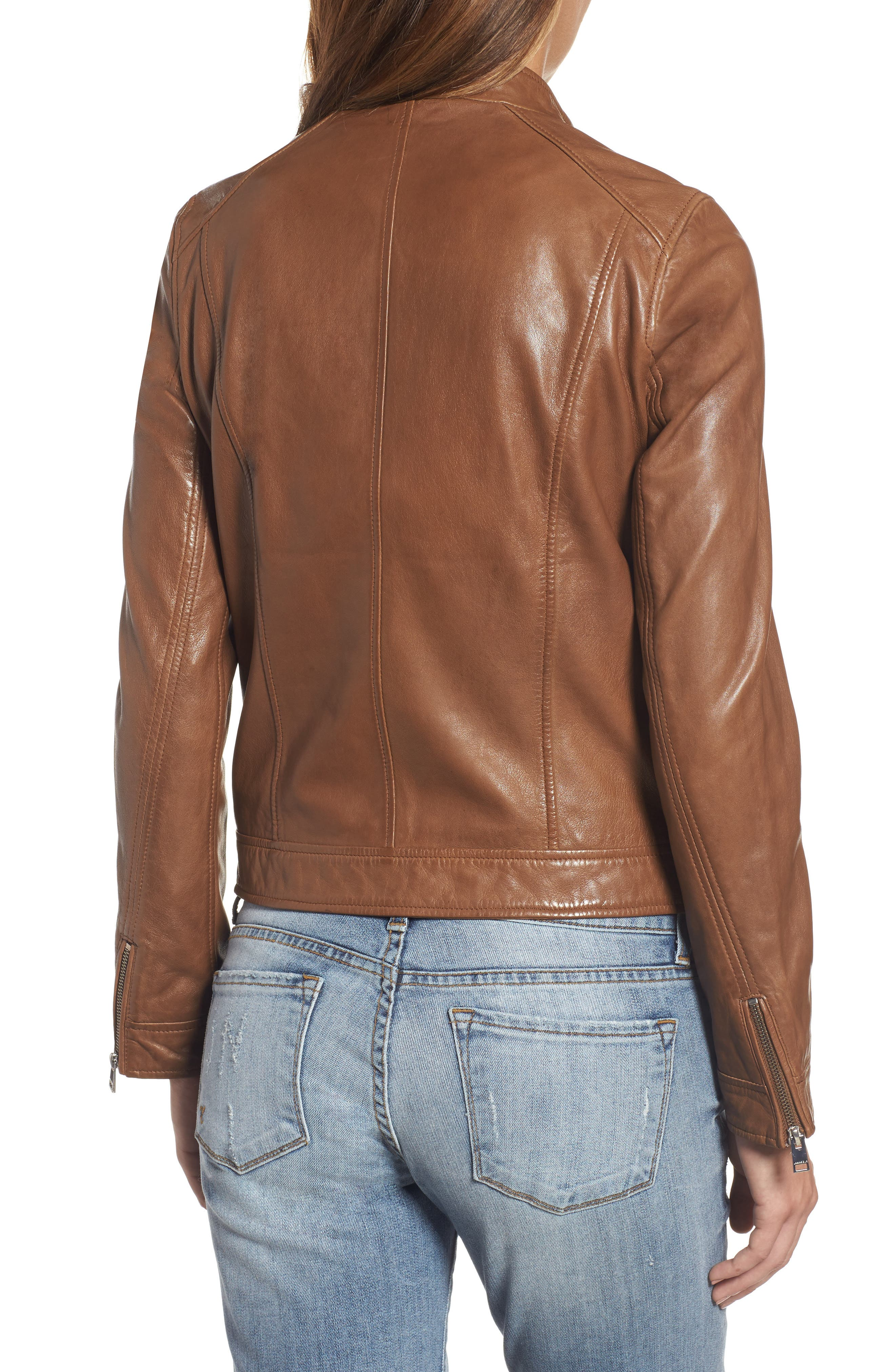 Alternate Image 2  - LAMARQUE Patch Pocket Leather Biker Jacket