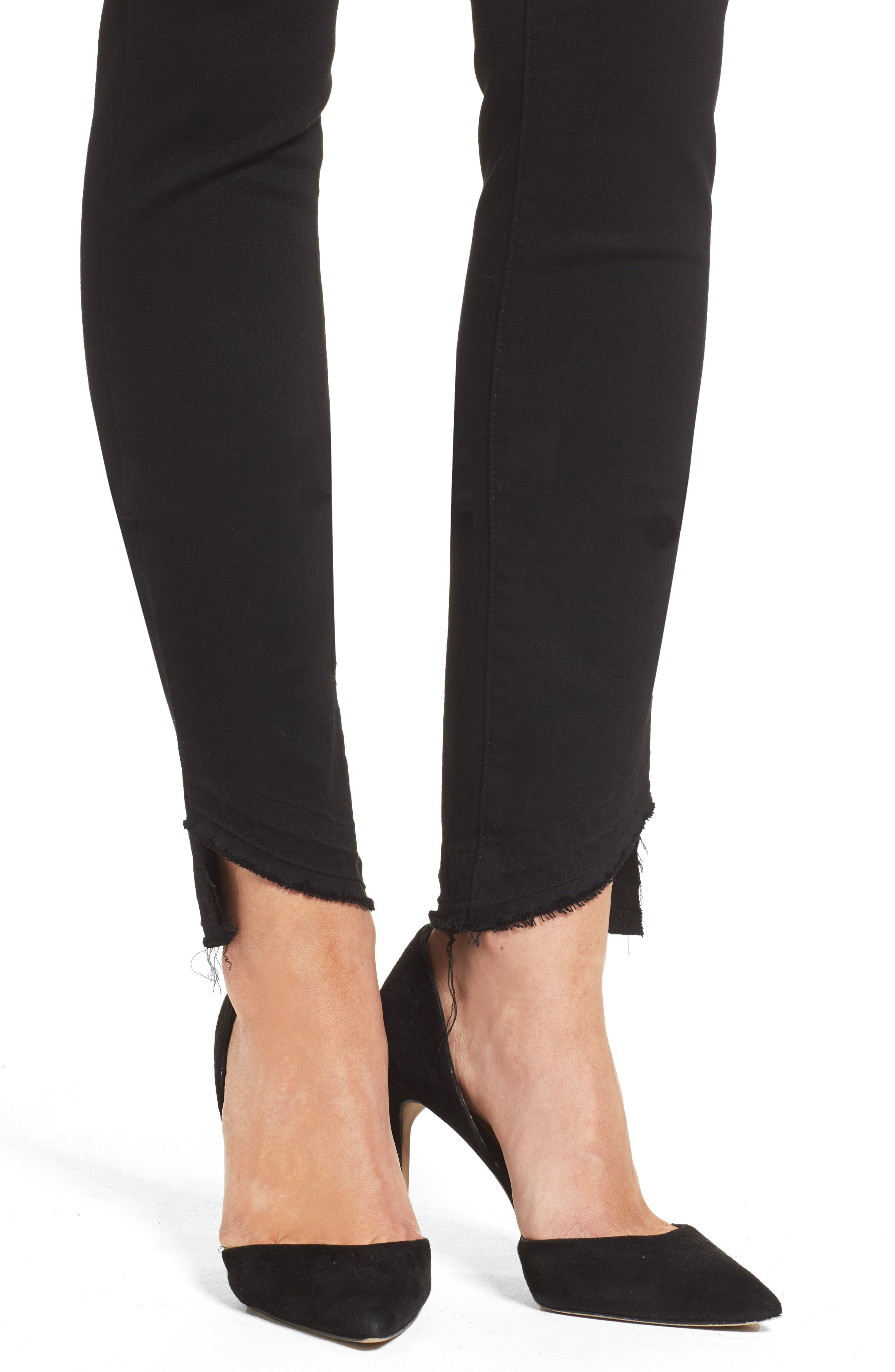 Alternate Image 4  - PAIGE Transcend Hoxton High Waist Undone Hem Skinny Jeans (Black Shadow)