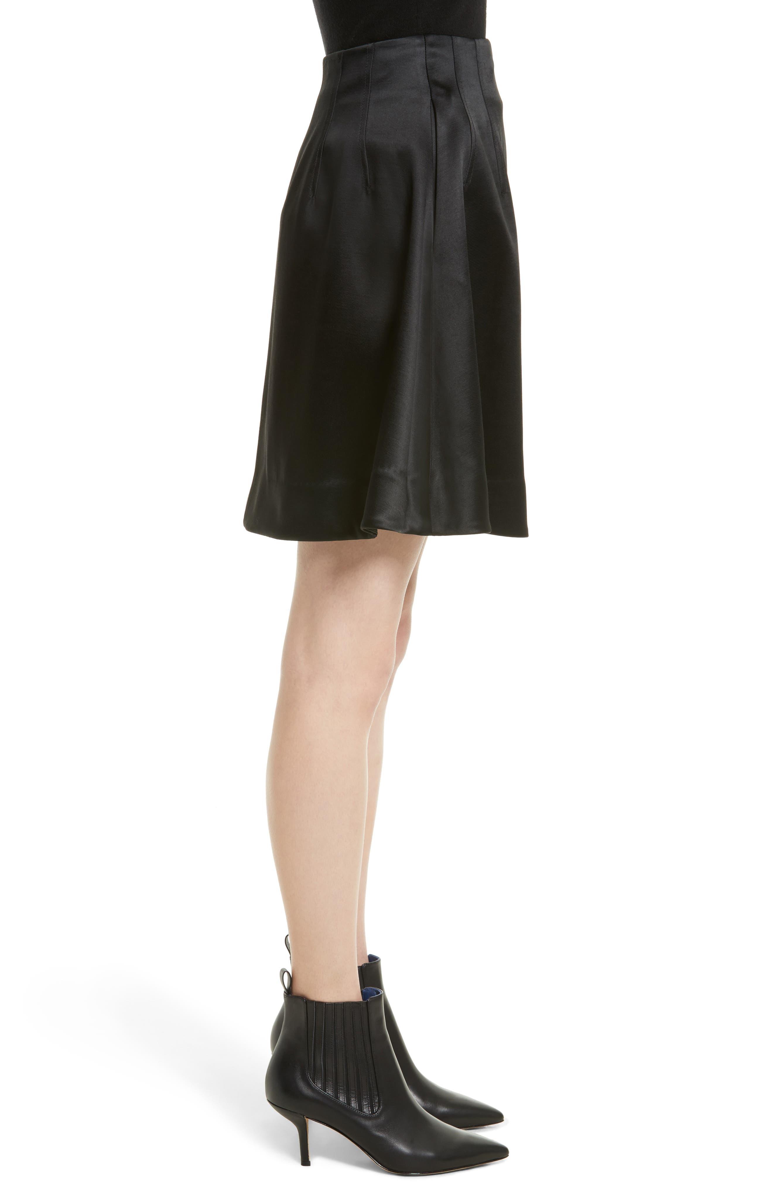High Waist Flare Wrap Miniskirt,                             Alternate thumbnail 3, color,                             Black