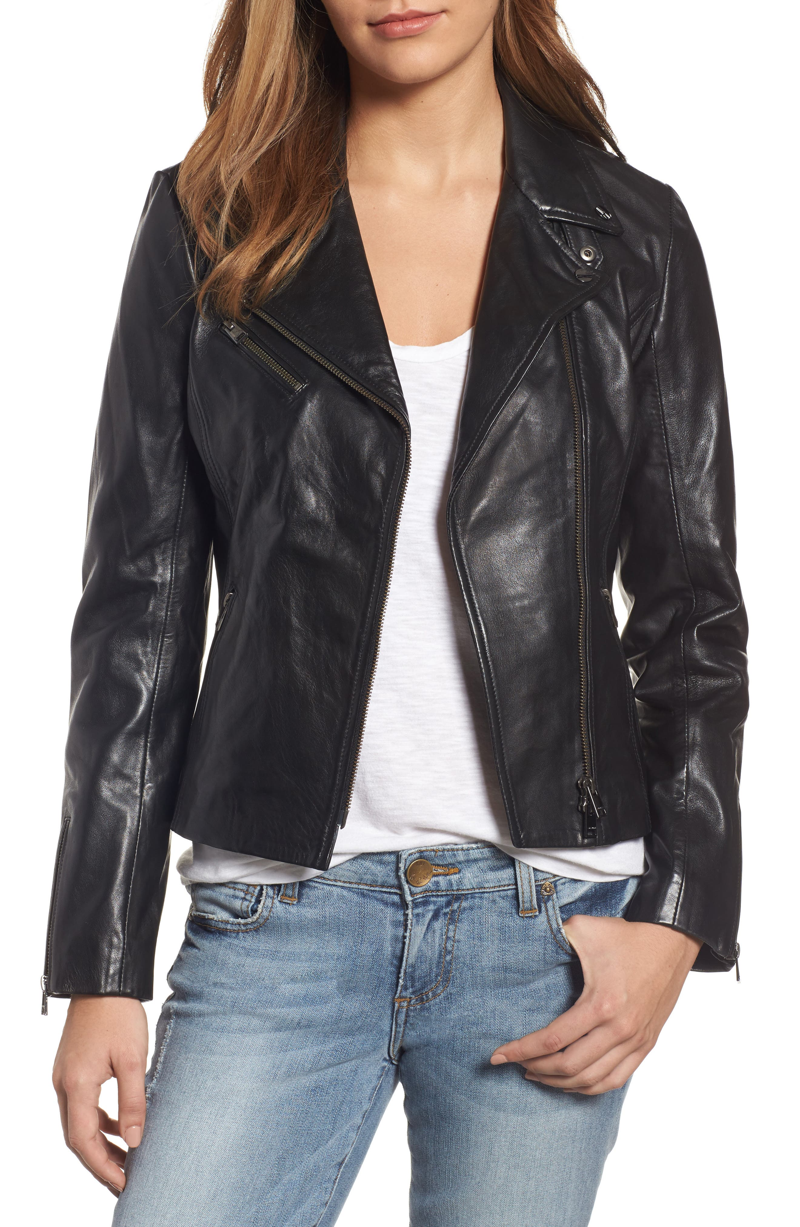 Asymmetrical Zip Leather Biker Jacket,                         Main,                         color, Black