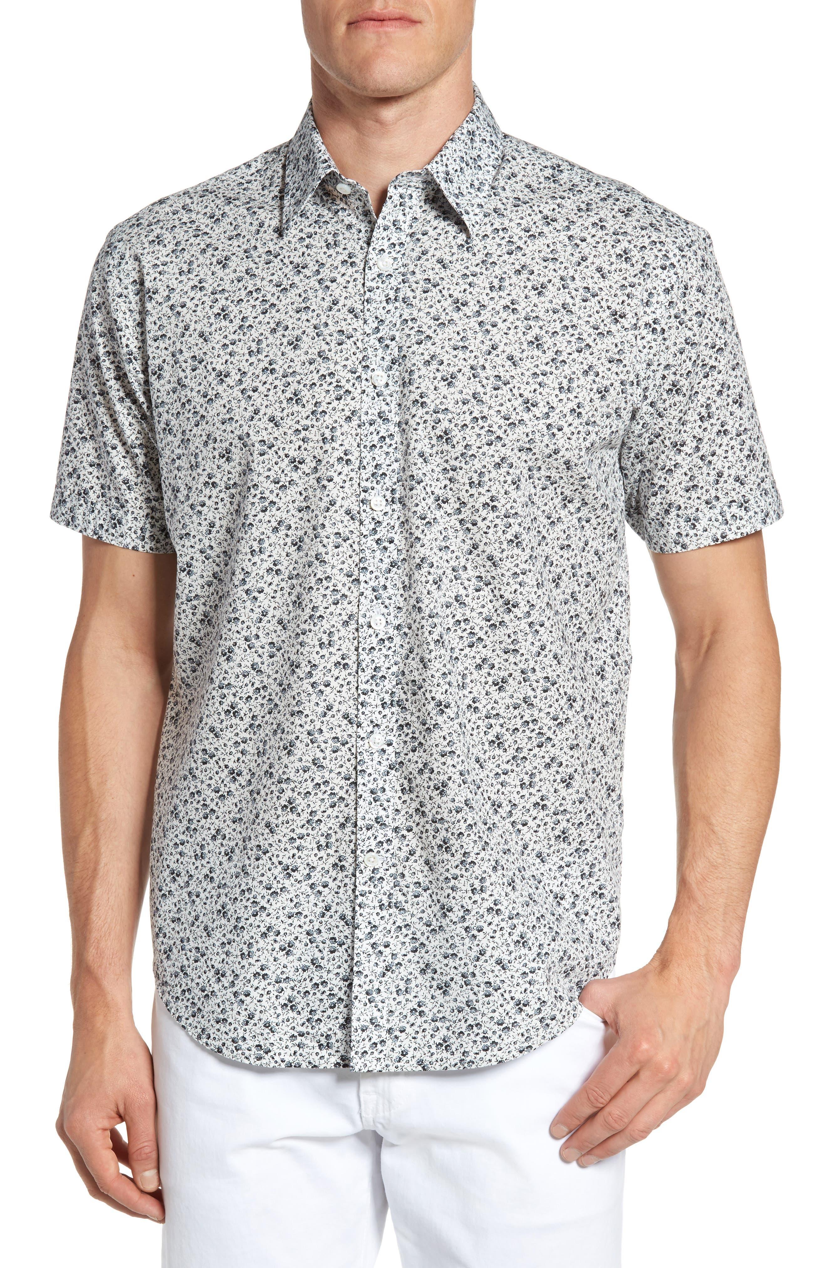 James Campbell Floral Print Sport Shirt