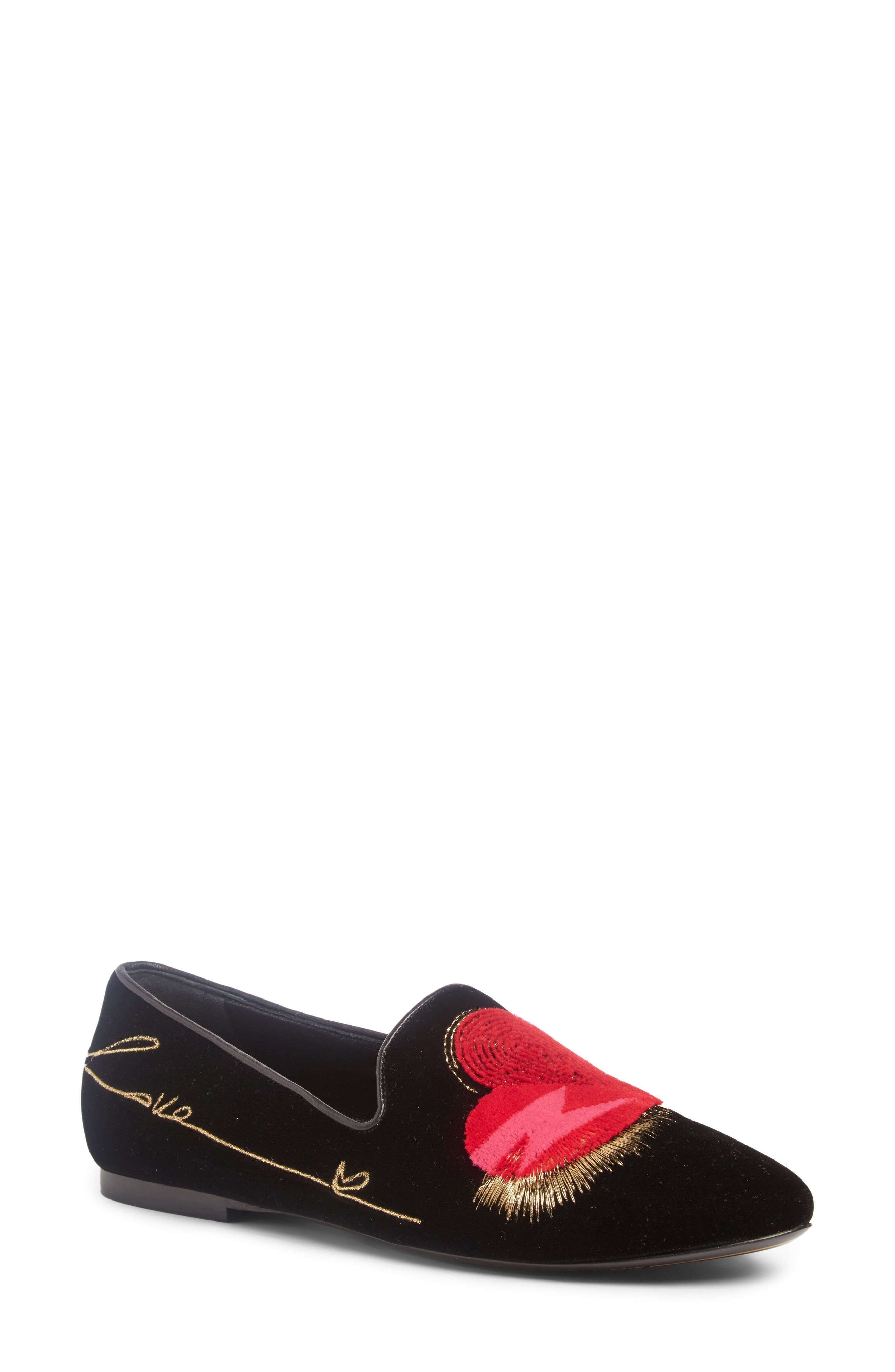 Saint Laurent Hearts Smoking Slipper (Women)