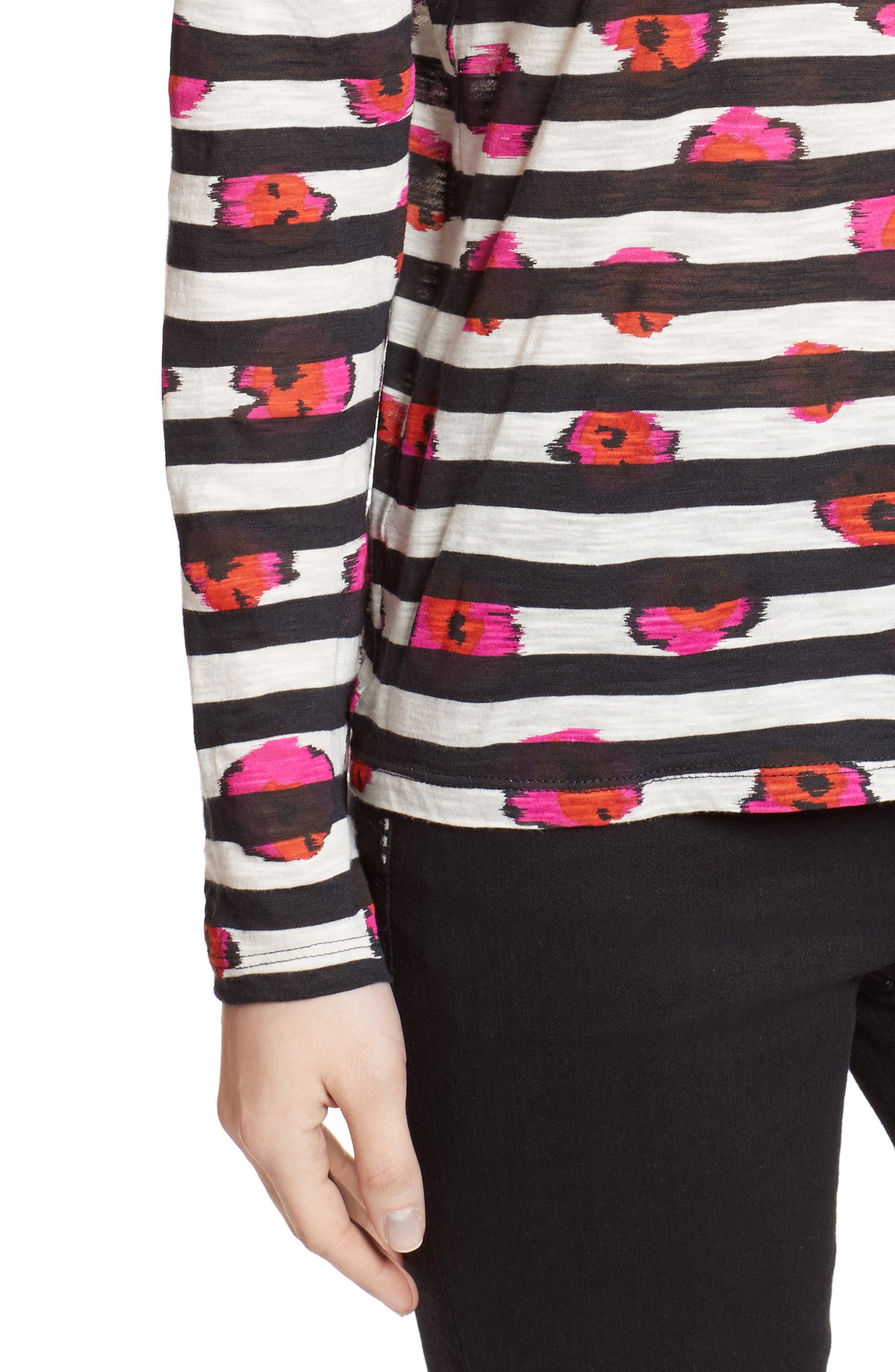 Print Tissue Jersey Tee,                             Alternate thumbnail 5, color,                             Electric Pink/ Pumpkin Pansy