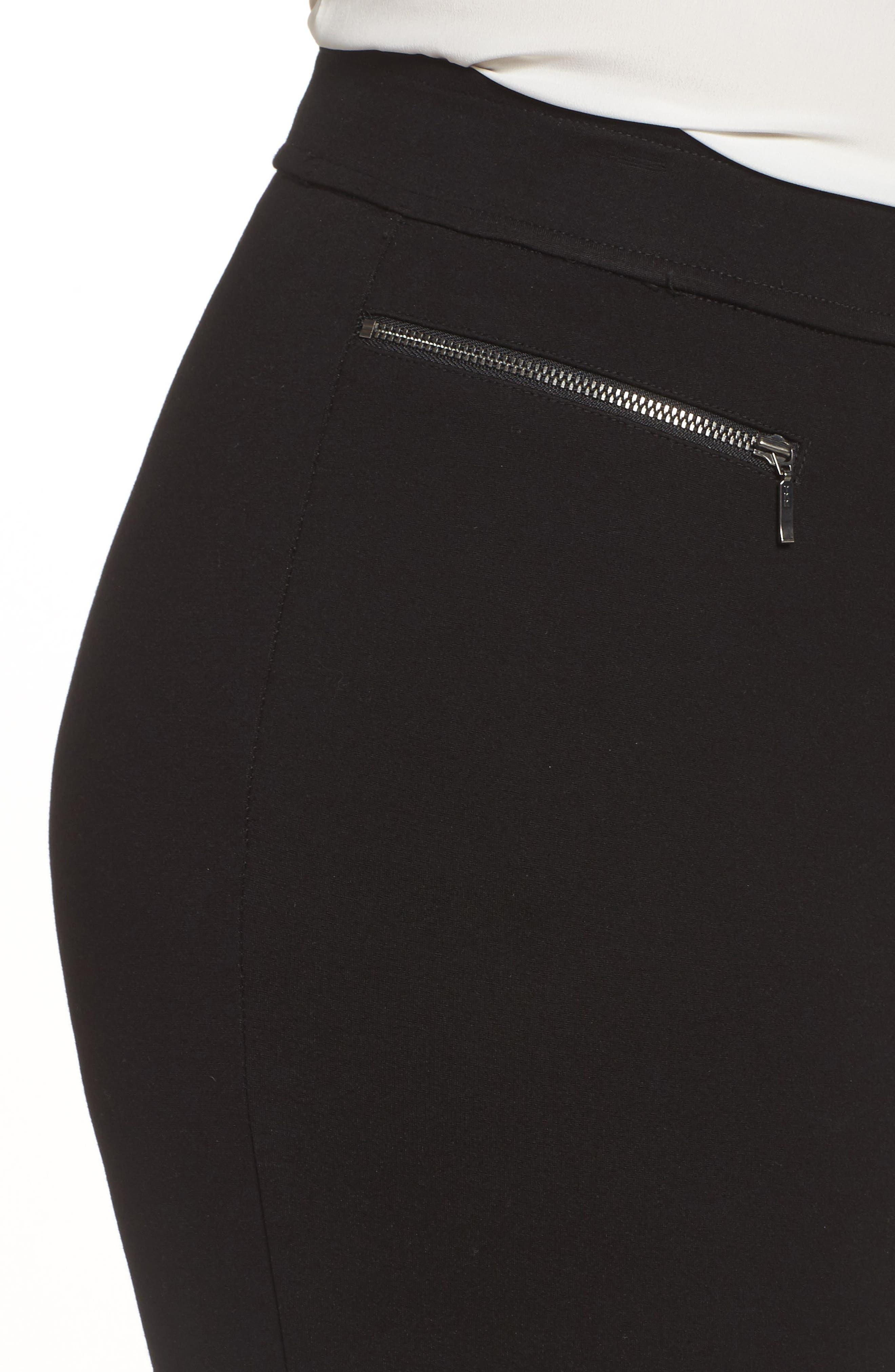 Zip Pocket Ankle Leggings,                             Alternate thumbnail 5, color,                             Black