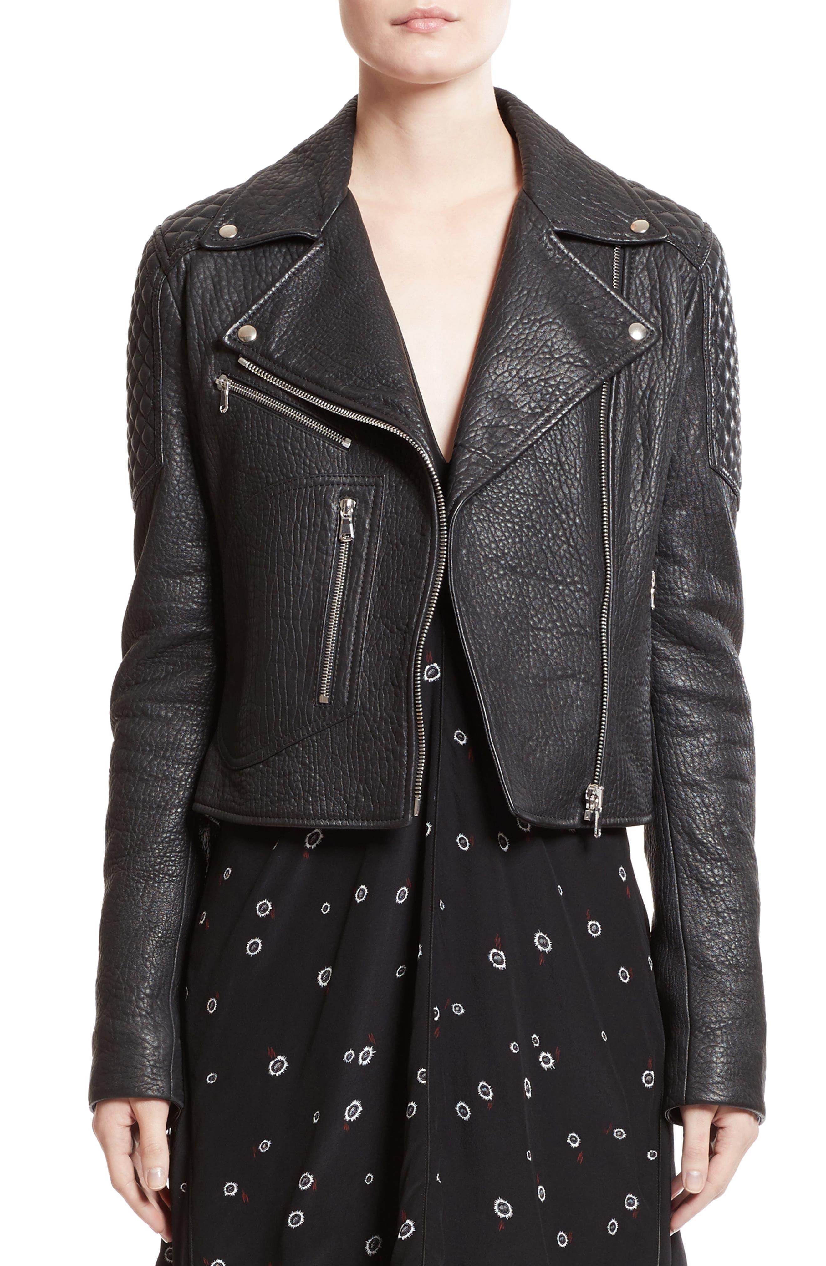 Alternate Image 6  - Proenza Schouler Pebbled Leather Moto Jacket