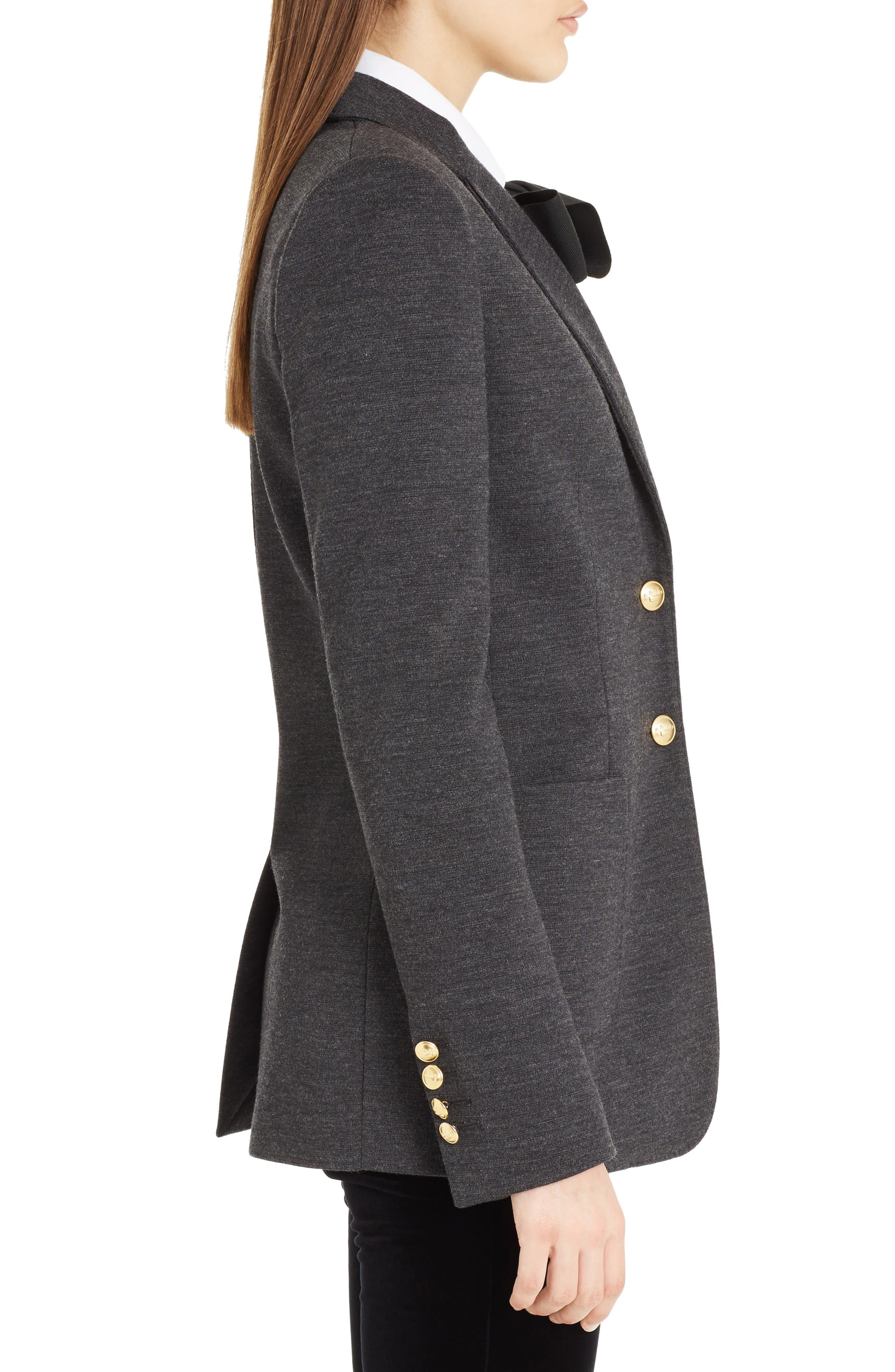 Punto Milano Wool Blazer,                             Alternate thumbnail 3, color,                             Grey Melange