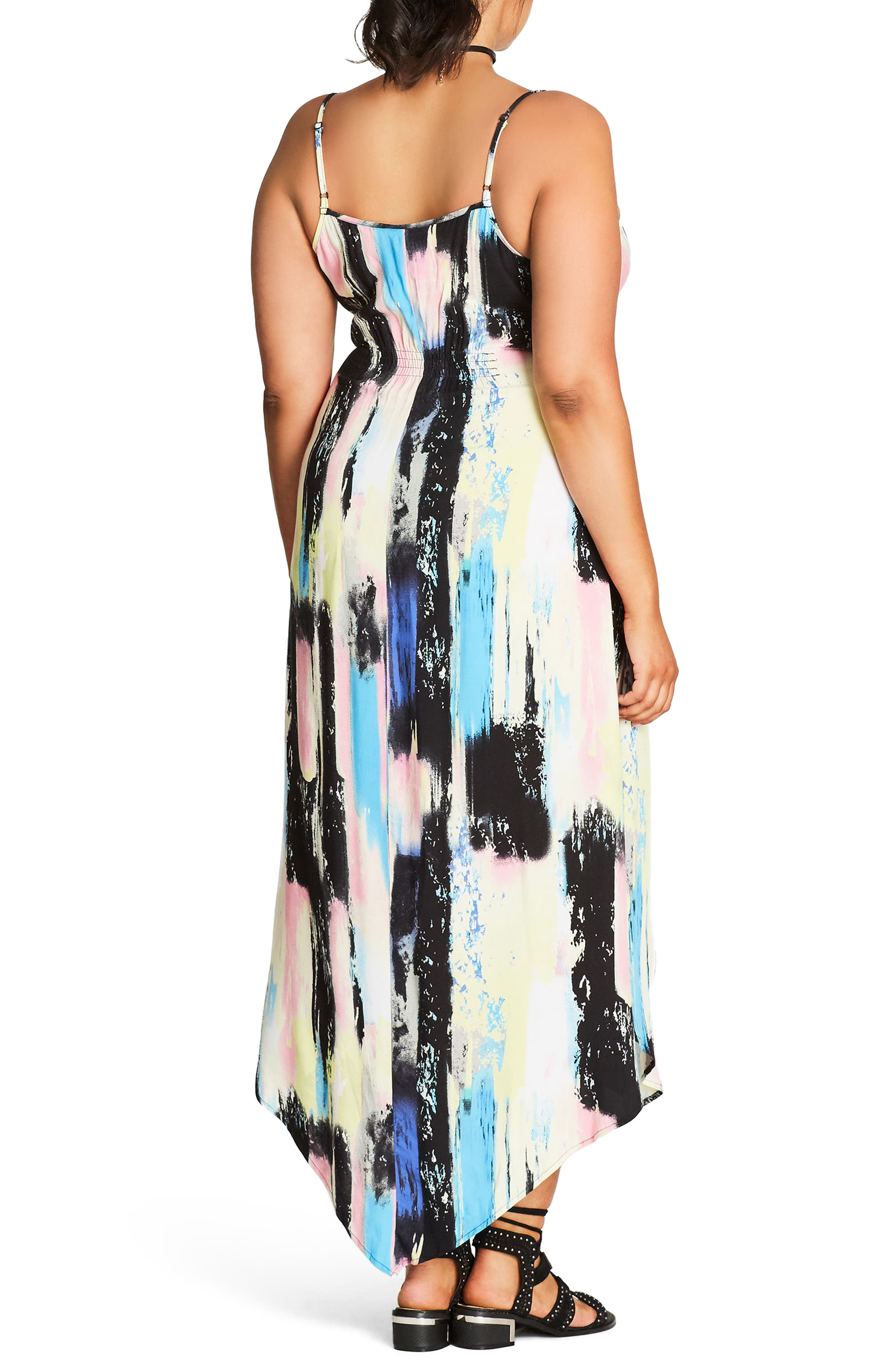 Alternate Image 2  - City Chic Soft Smudge Print Maxi Dress (Plus Size)