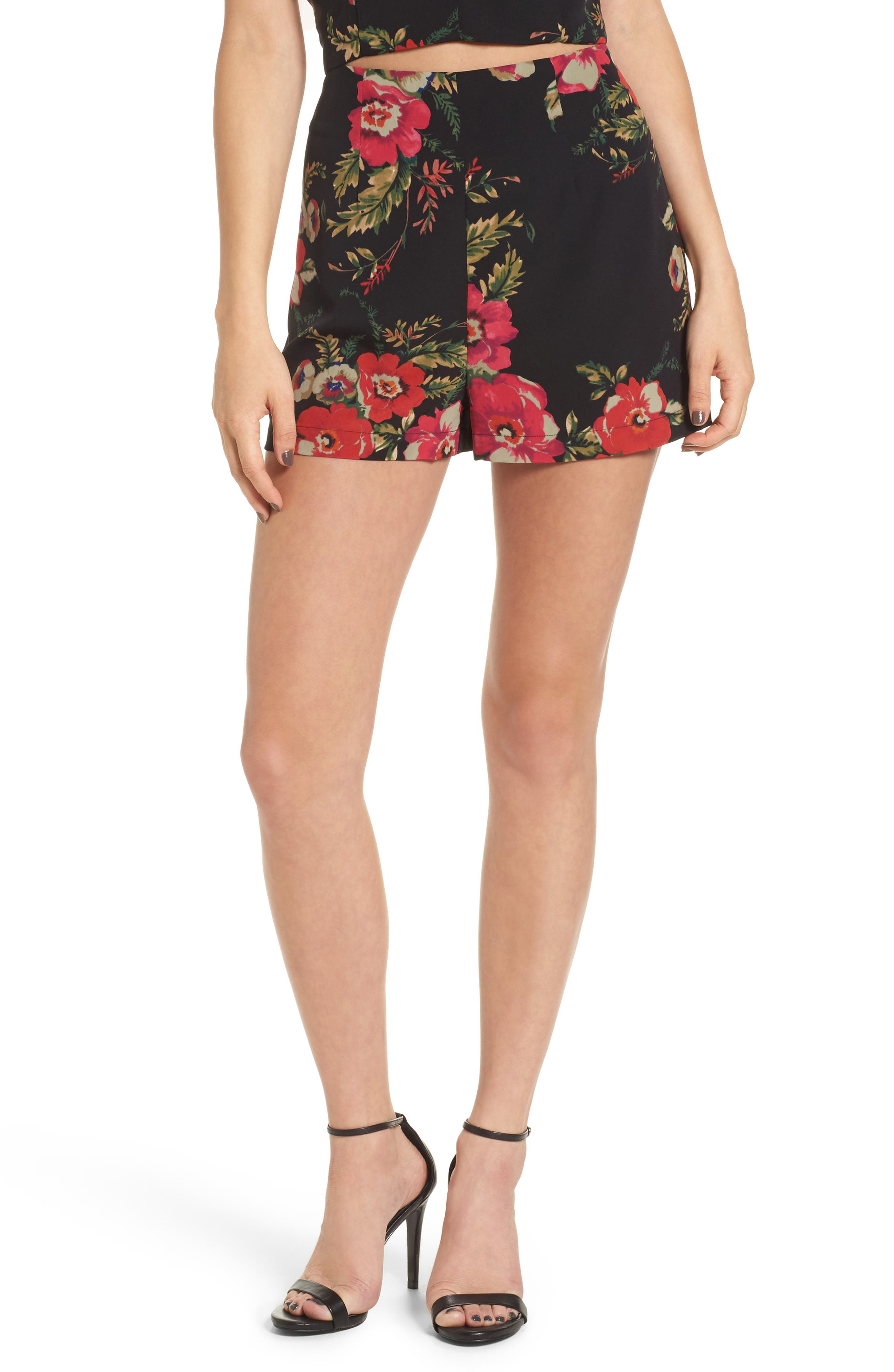 Leith Floral Print High Waist Shorts