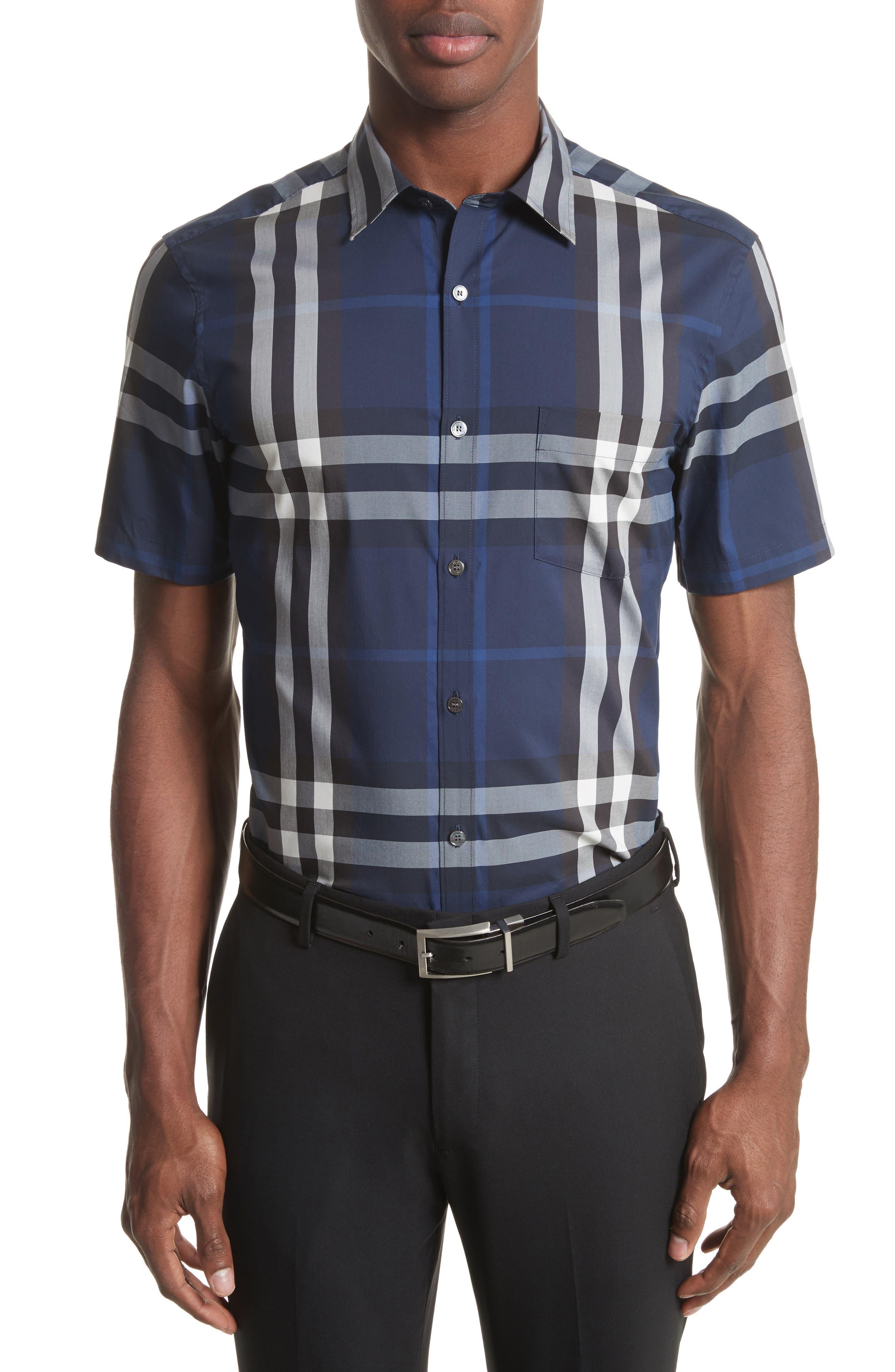 Nelson Trim Fit Plaid Sport Shirt,                         Main,                         color, Indigo Blue