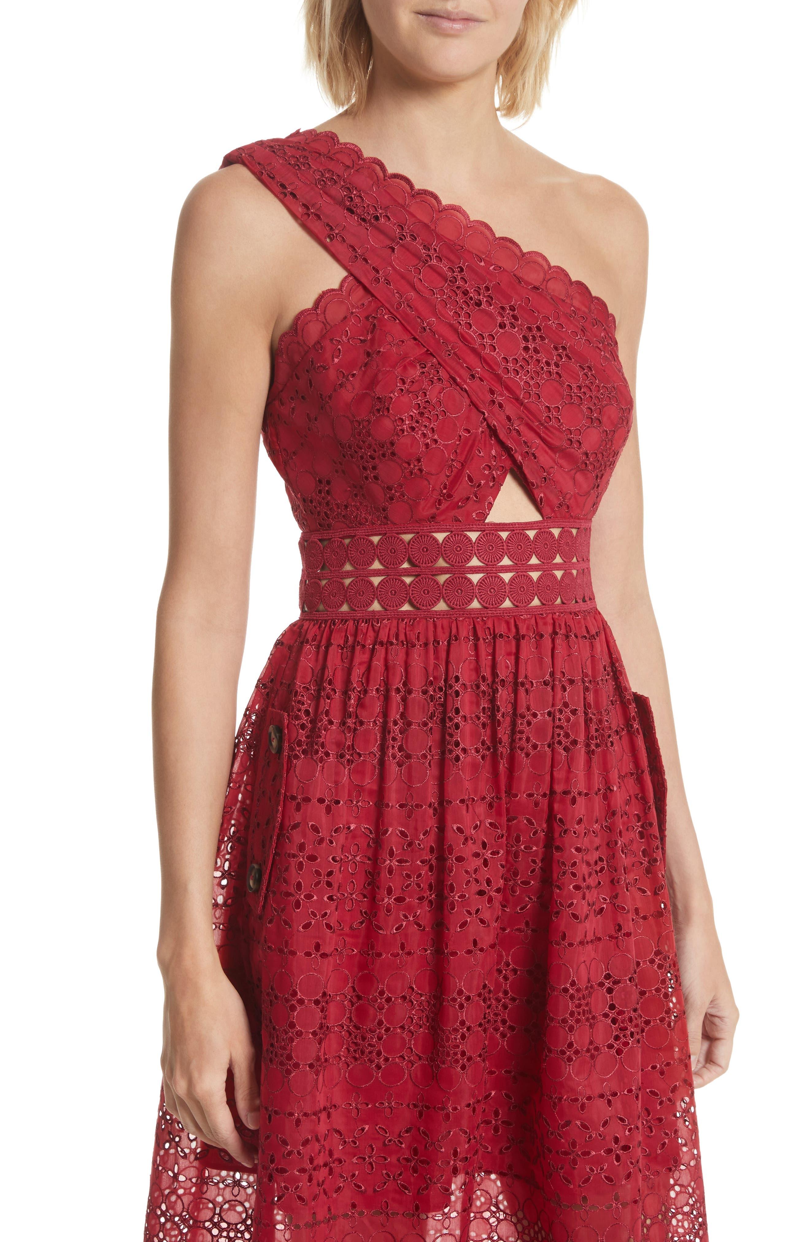 Cutout One-Shoulder Midi Dress,                             Alternate thumbnail 4, color,                             Raspberry Red