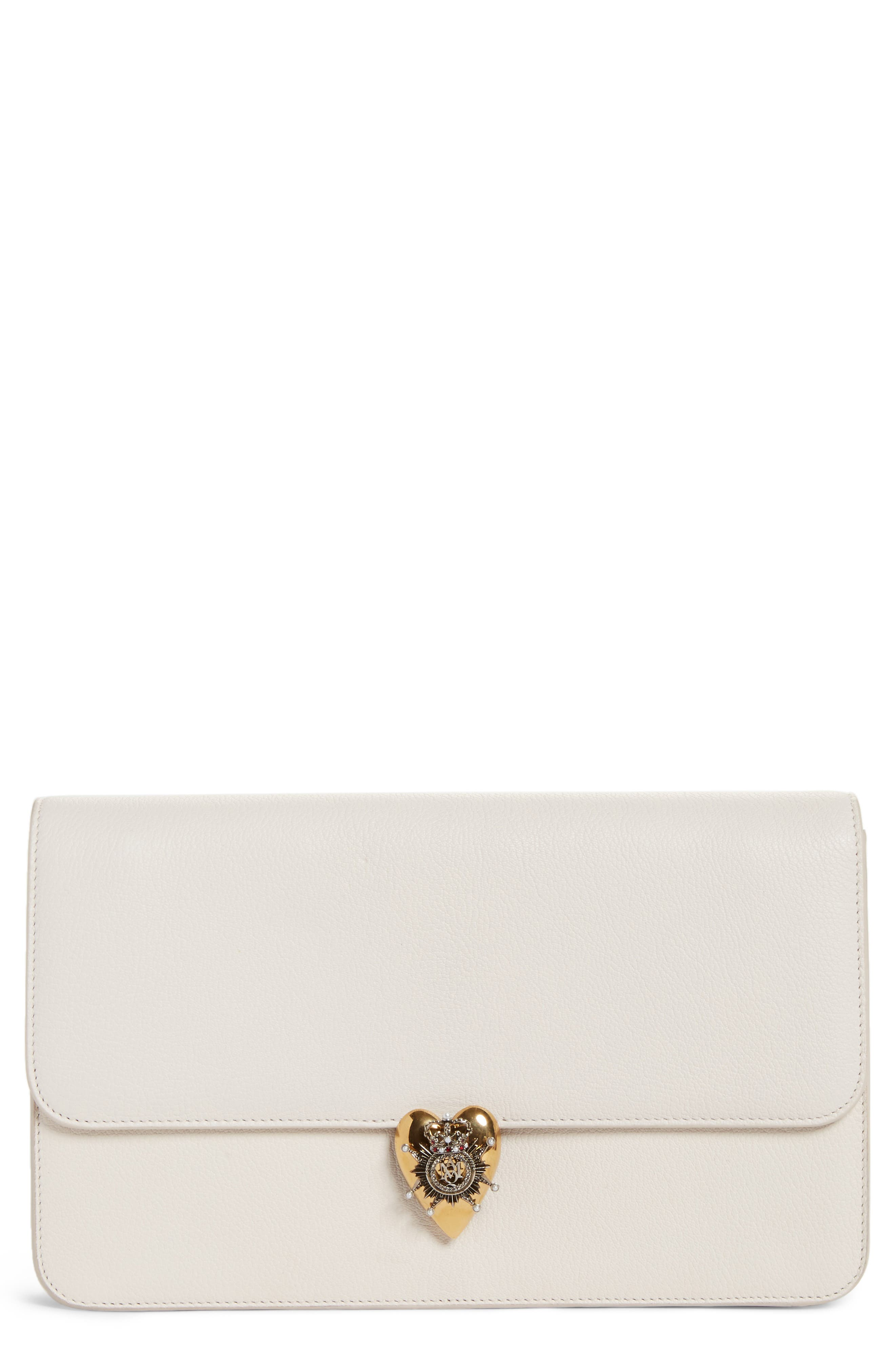 Heart Leather Clutch,                         Main,                         color, Off White