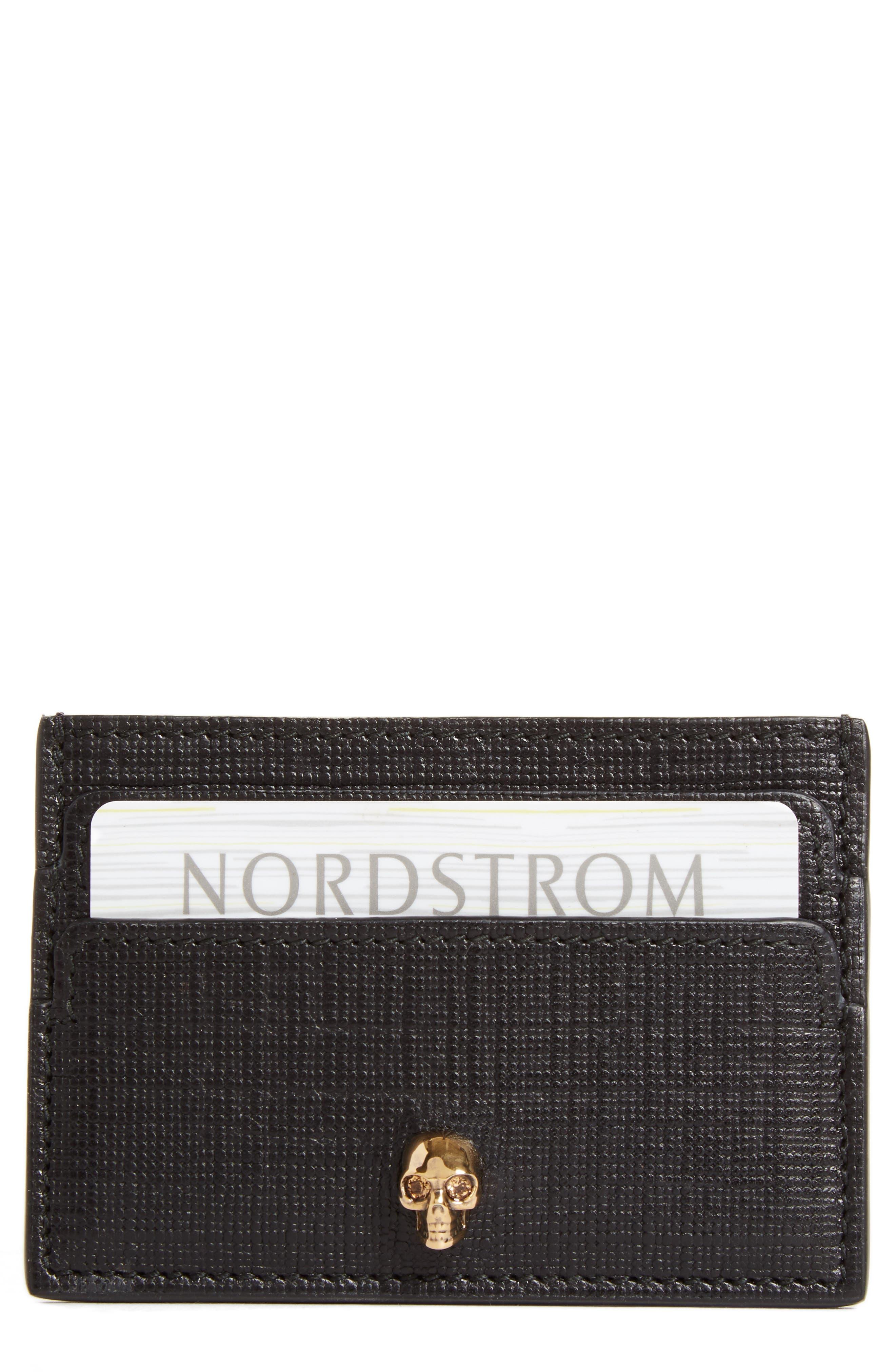 Alexander McQueen Embossed Calfskin Leather Card Holder
