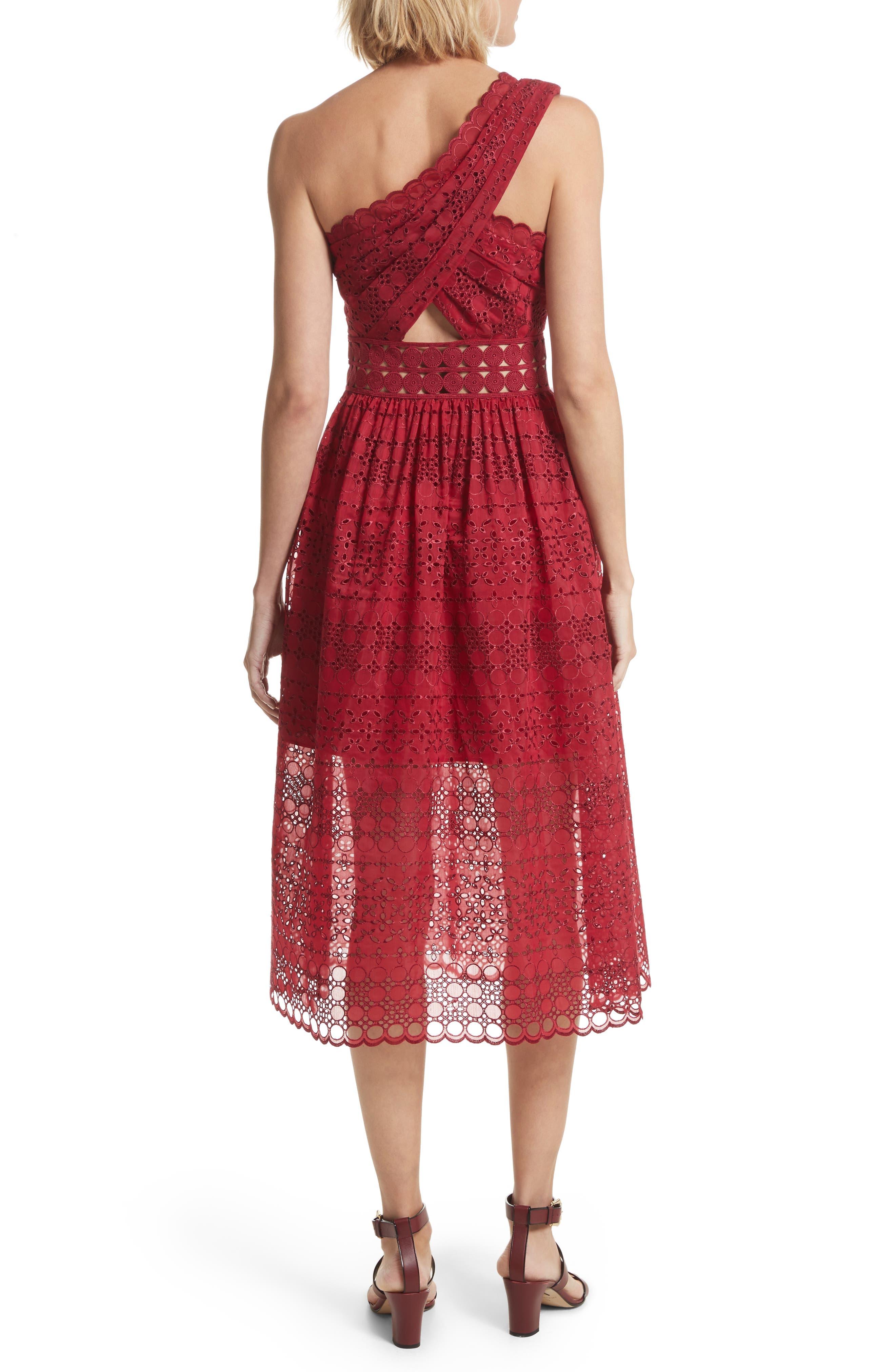 Cutout One-Shoulder Midi Dress,                             Alternate thumbnail 2, color,                             Raspberry Red