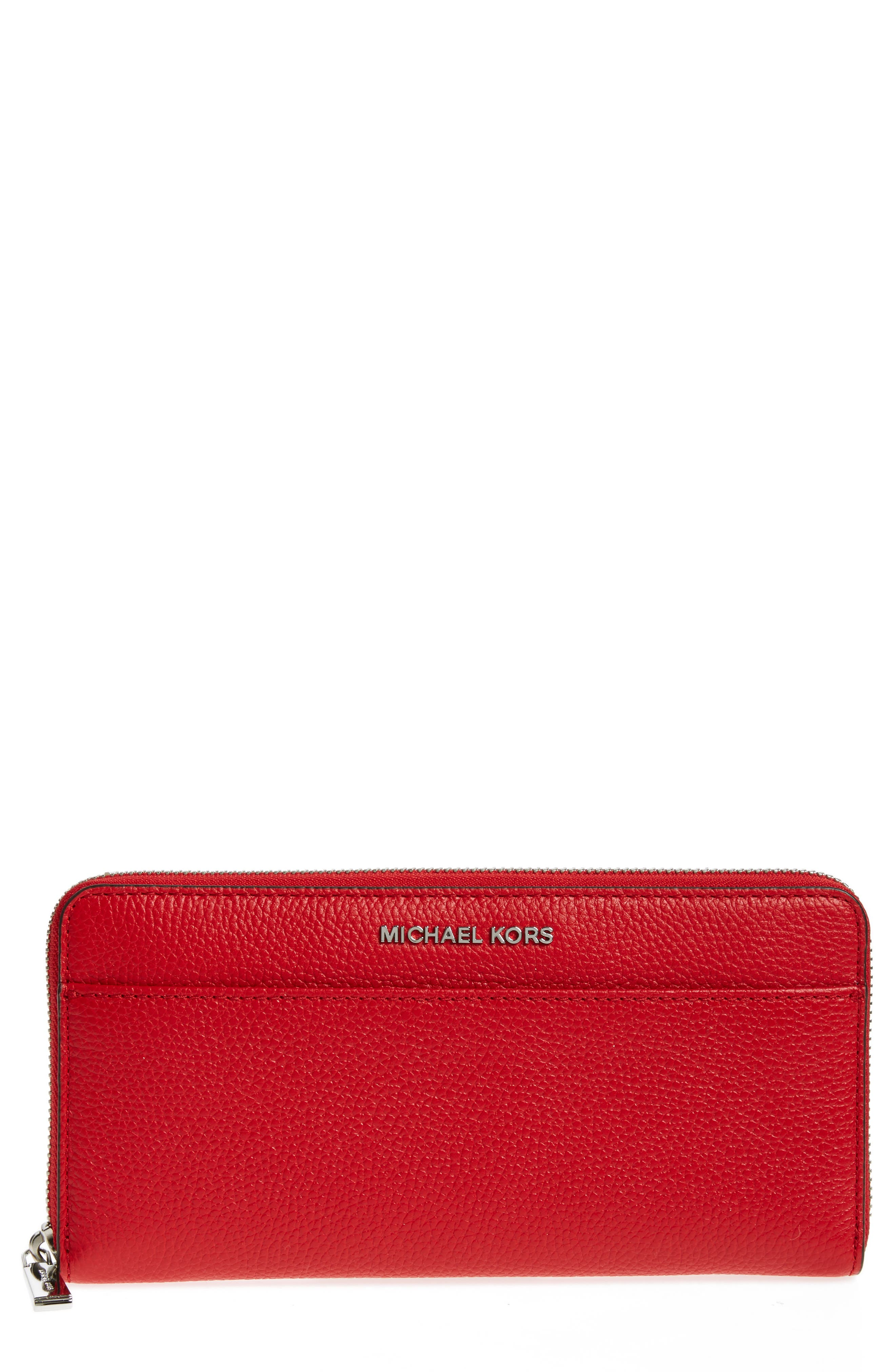Mercer Leather Continental Wallet,                             Main thumbnail 1, color,                             Bright Red