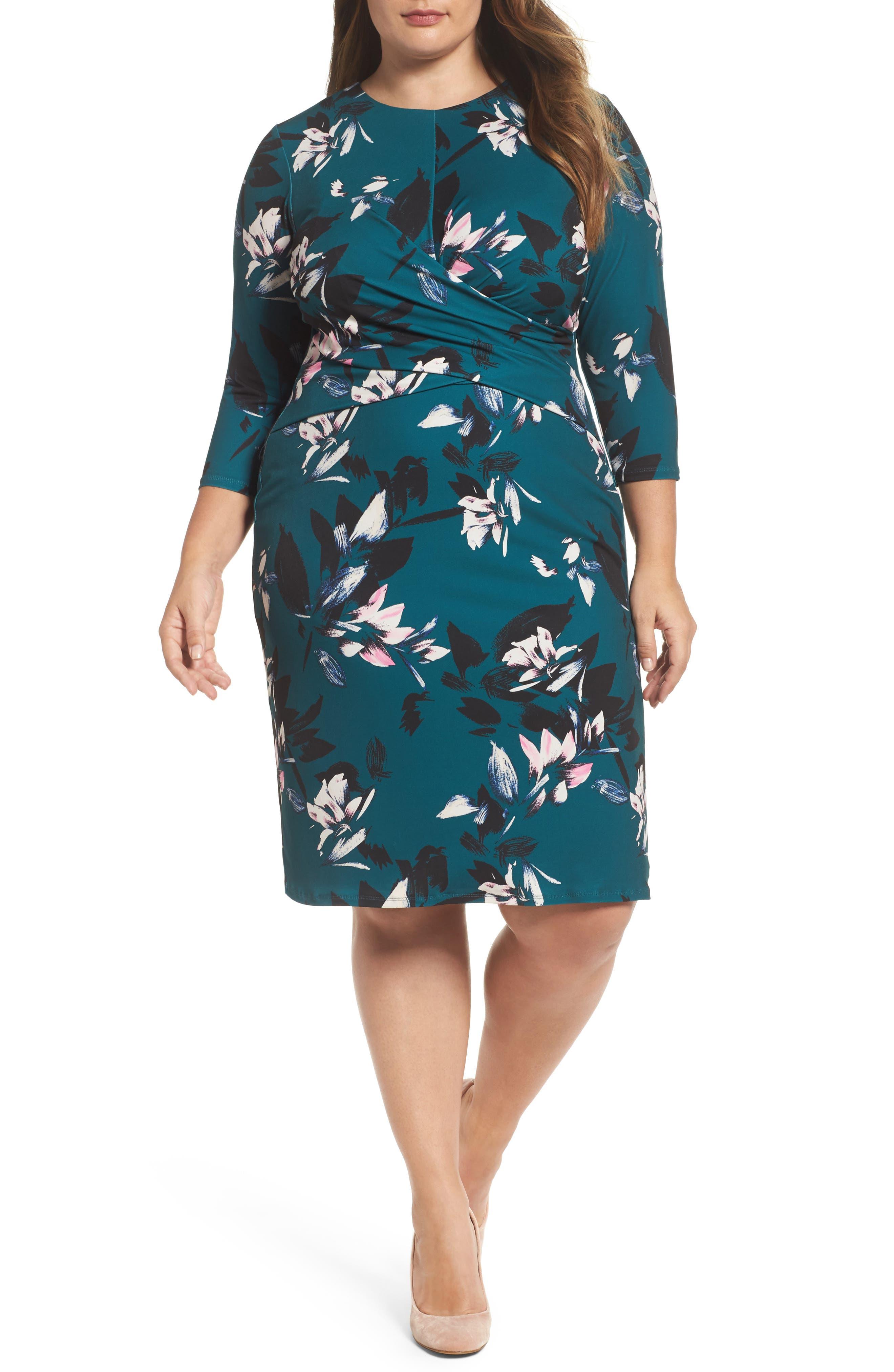 Eliza J Floral Faux Wrap Sheath Dress (Plus Size)