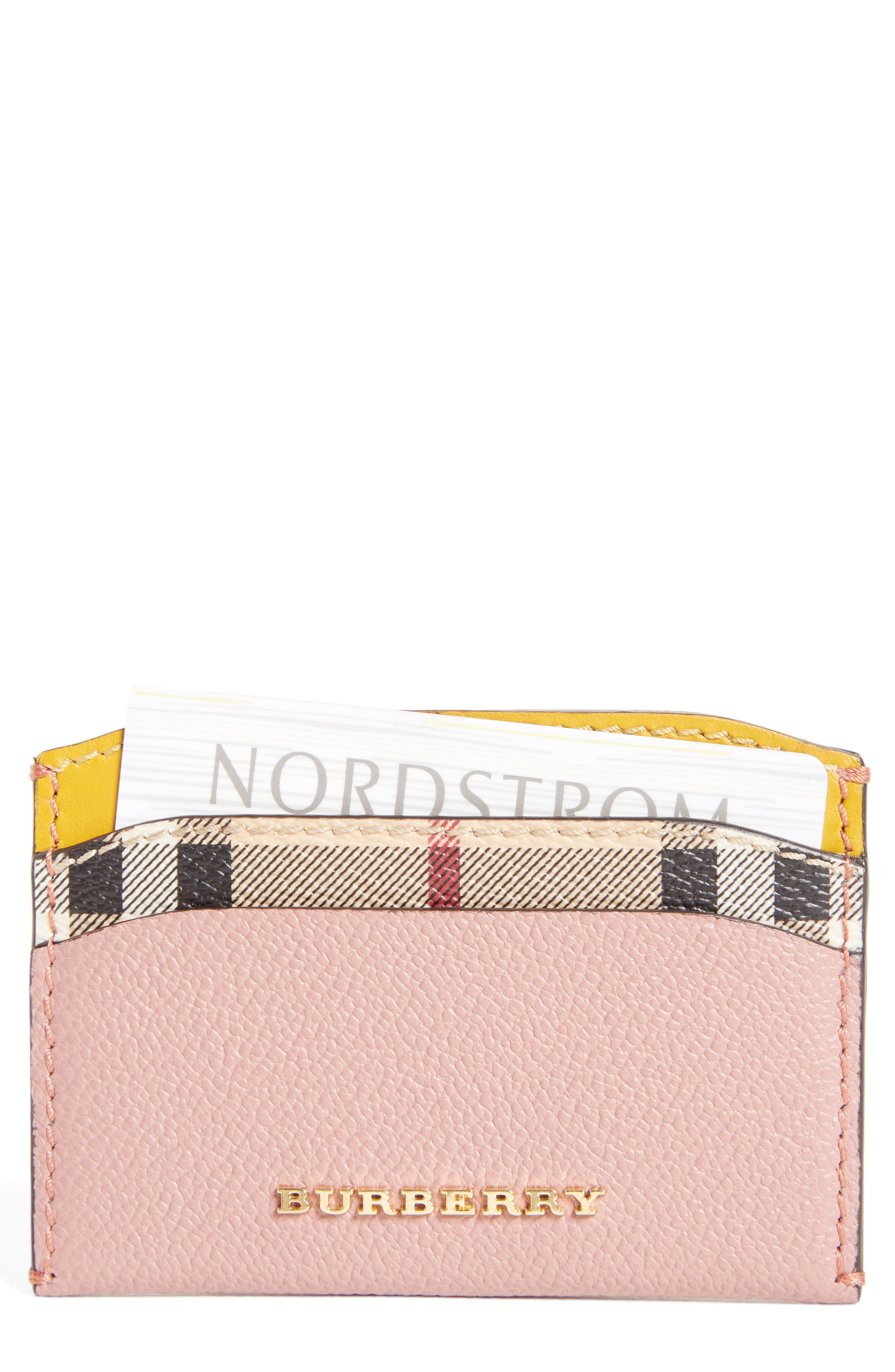 Burberry Izzy Check & Leather Card Case
