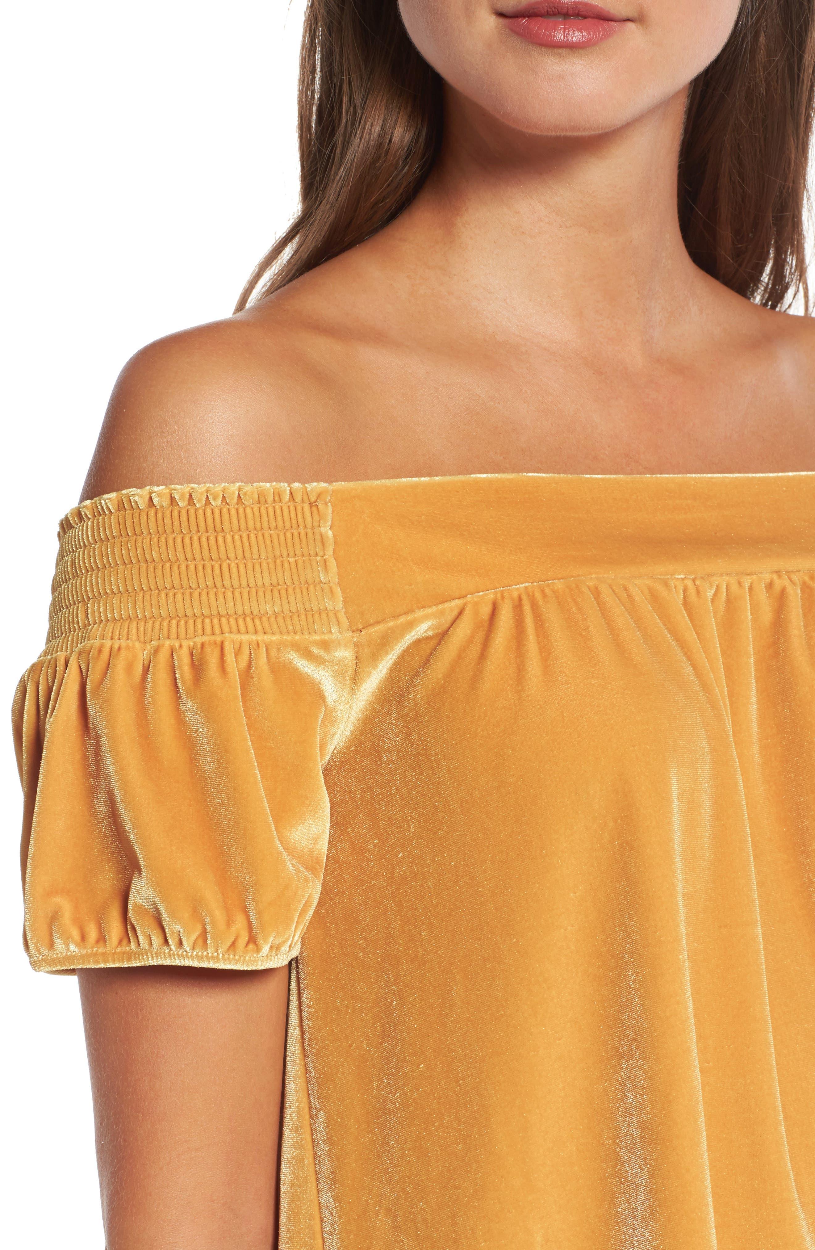 Alternate Image 4  - Hinge Off the Shoulder Velvet Top