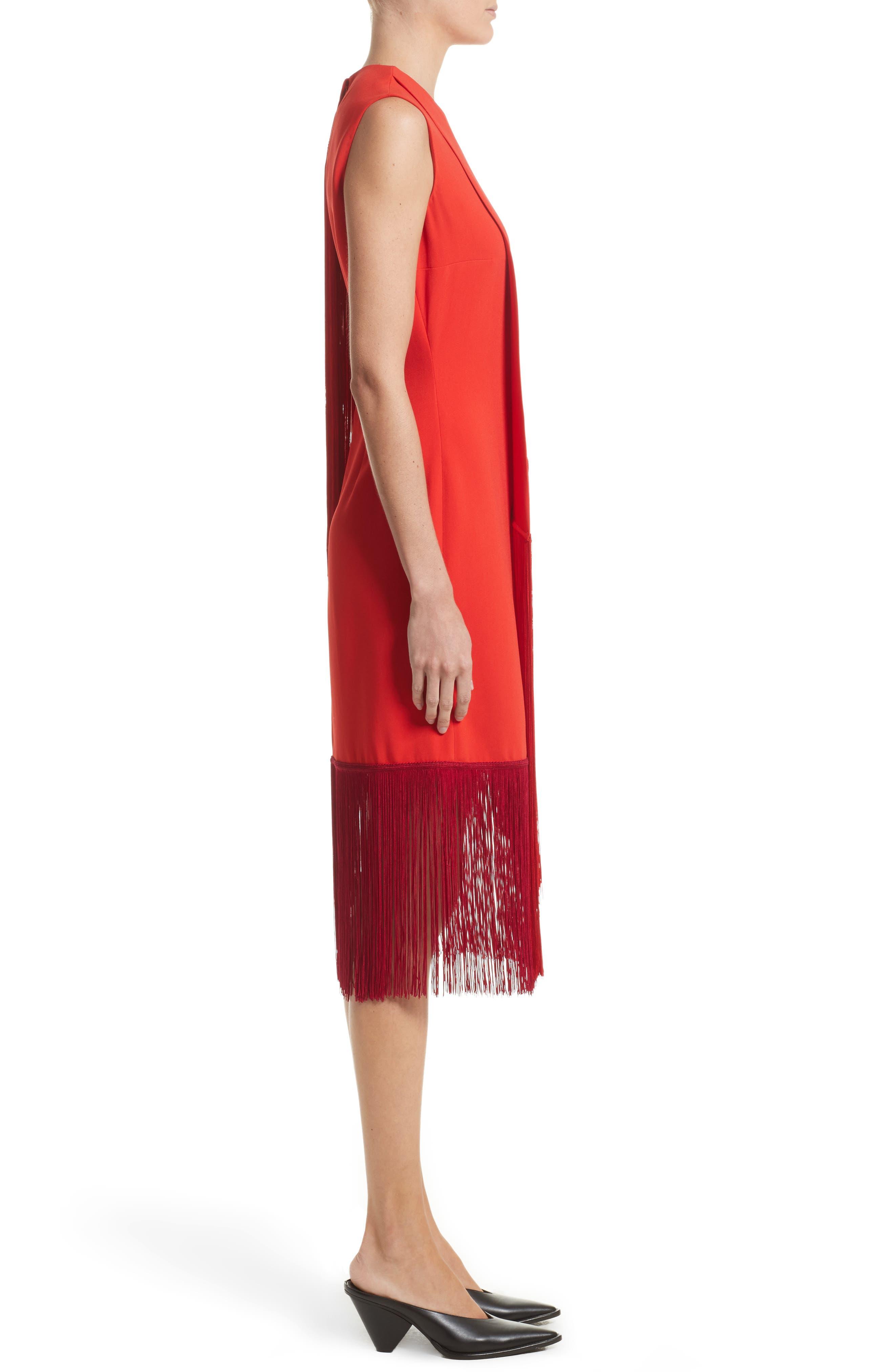 Fringe Overlay Dress,                             Alternate thumbnail 6, color,                             Lipstick