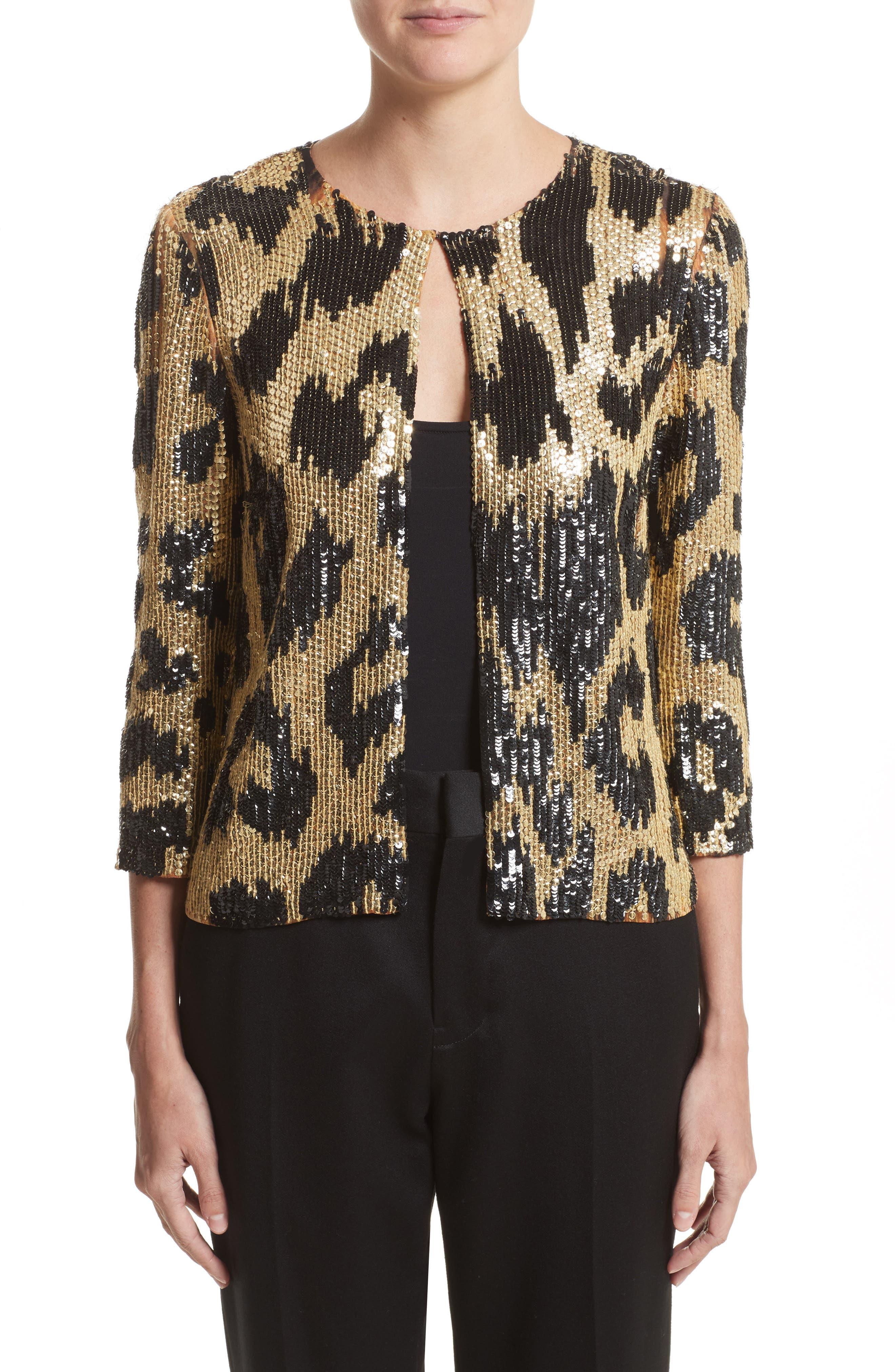 Cheetah Print Sequin Jacket,                             Main thumbnail 1, color,                             Black/ Gold