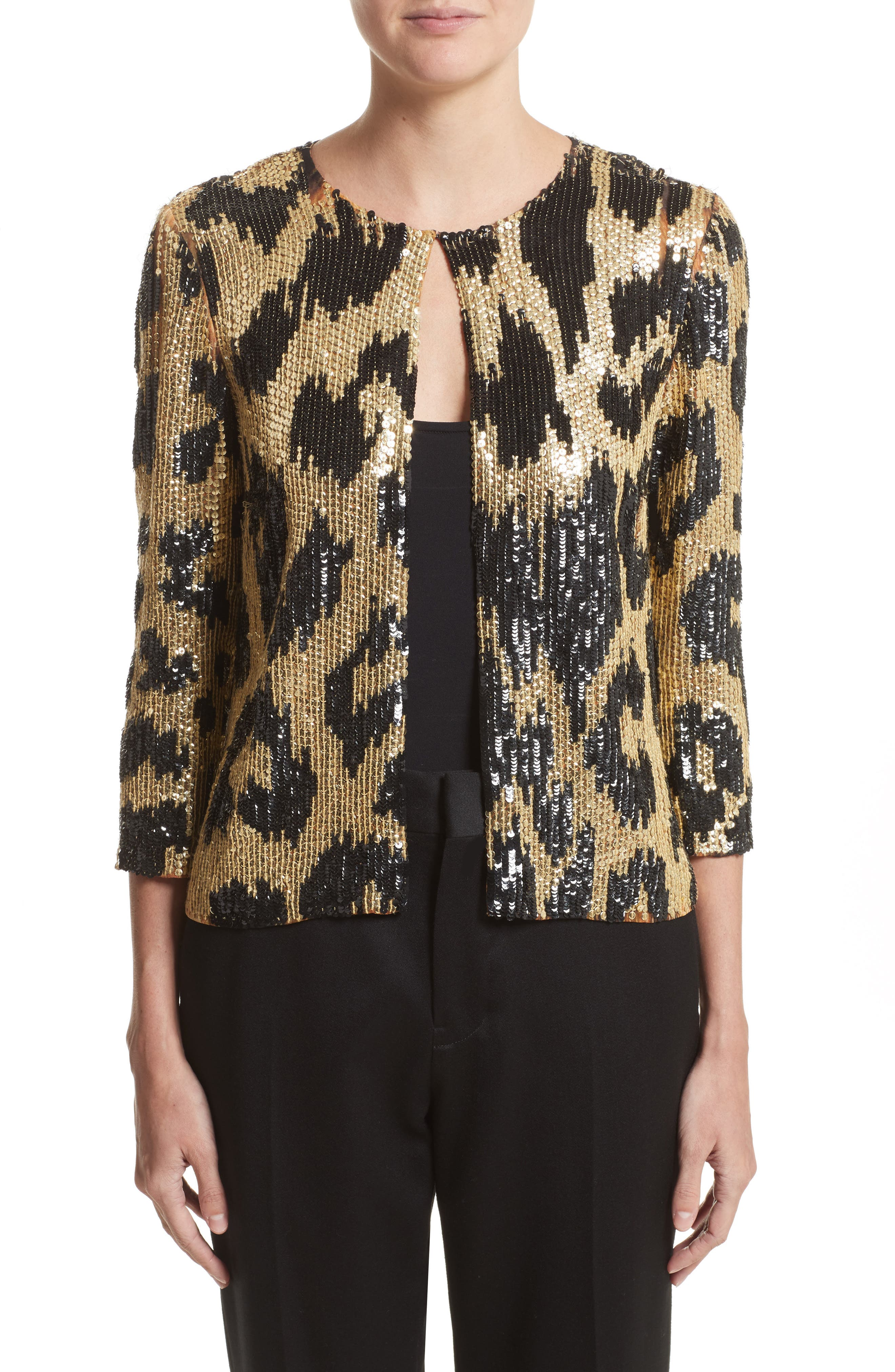 Naeem Khan Cheetah Print Sequin Jacket