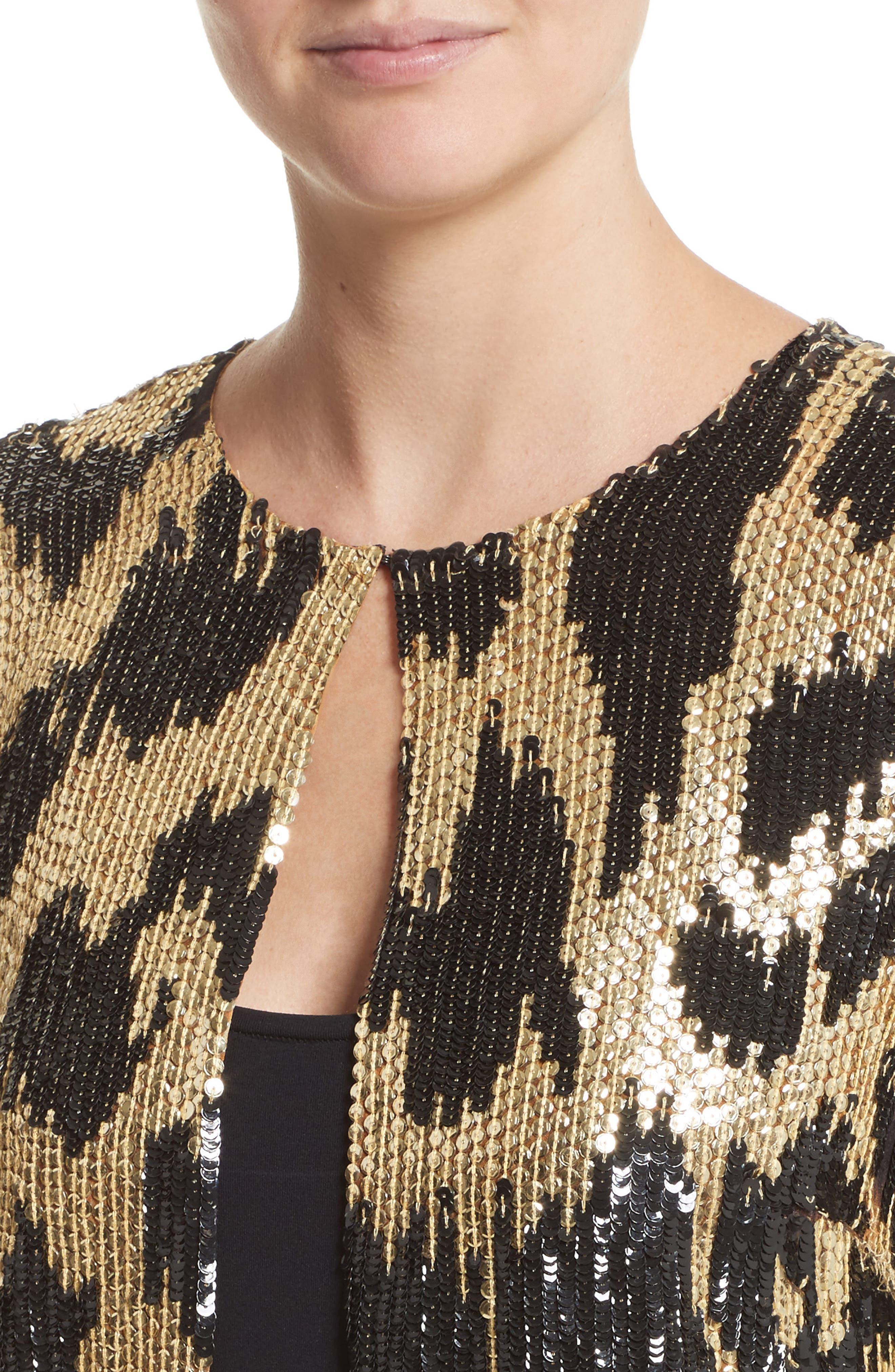 Cheetah Print Sequin Jacket,                             Alternate thumbnail 4, color,                             Black/ Gold