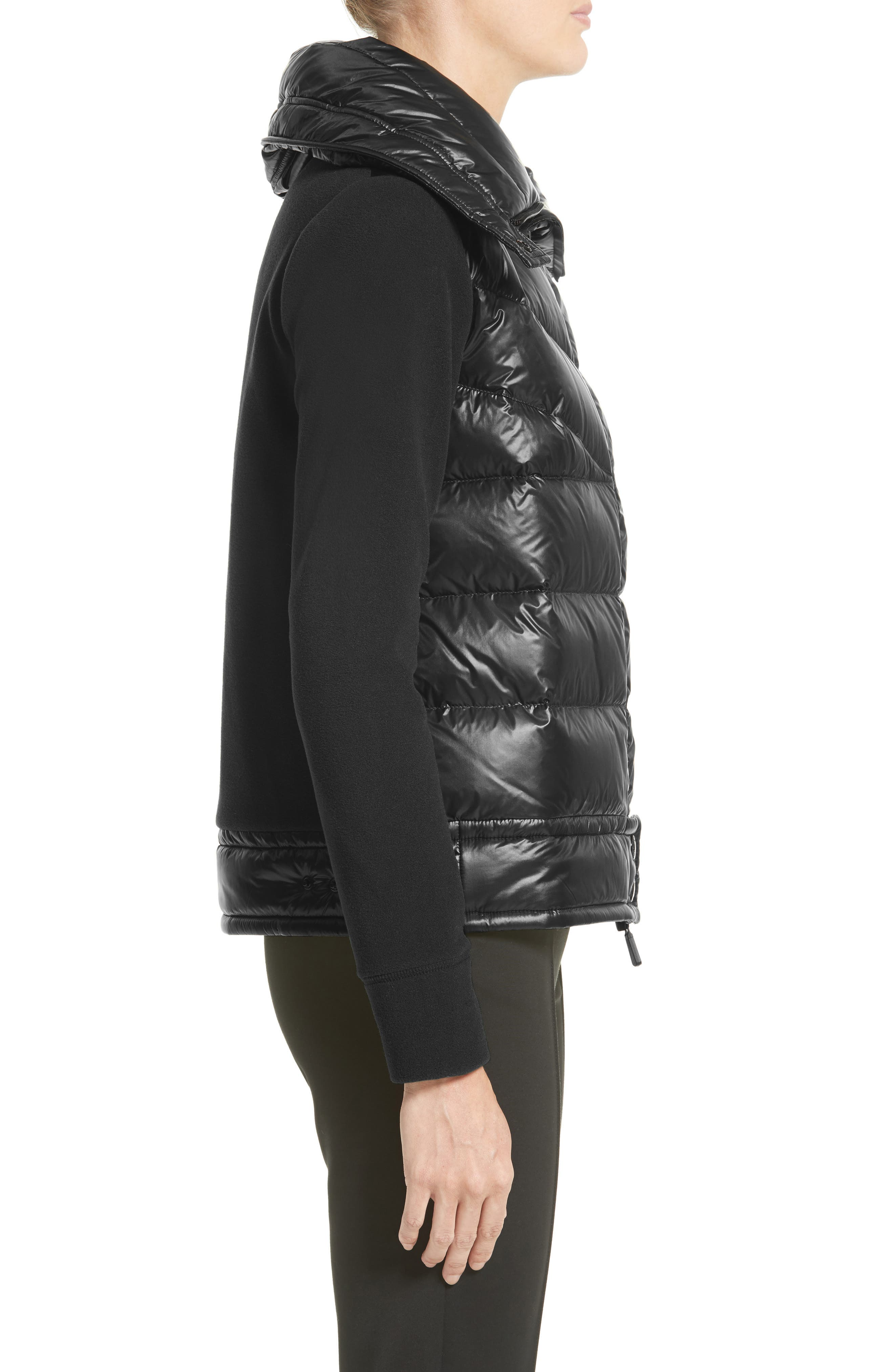 Quilted Down Front Cardigan,                             Alternate thumbnail 3, color,                             Black