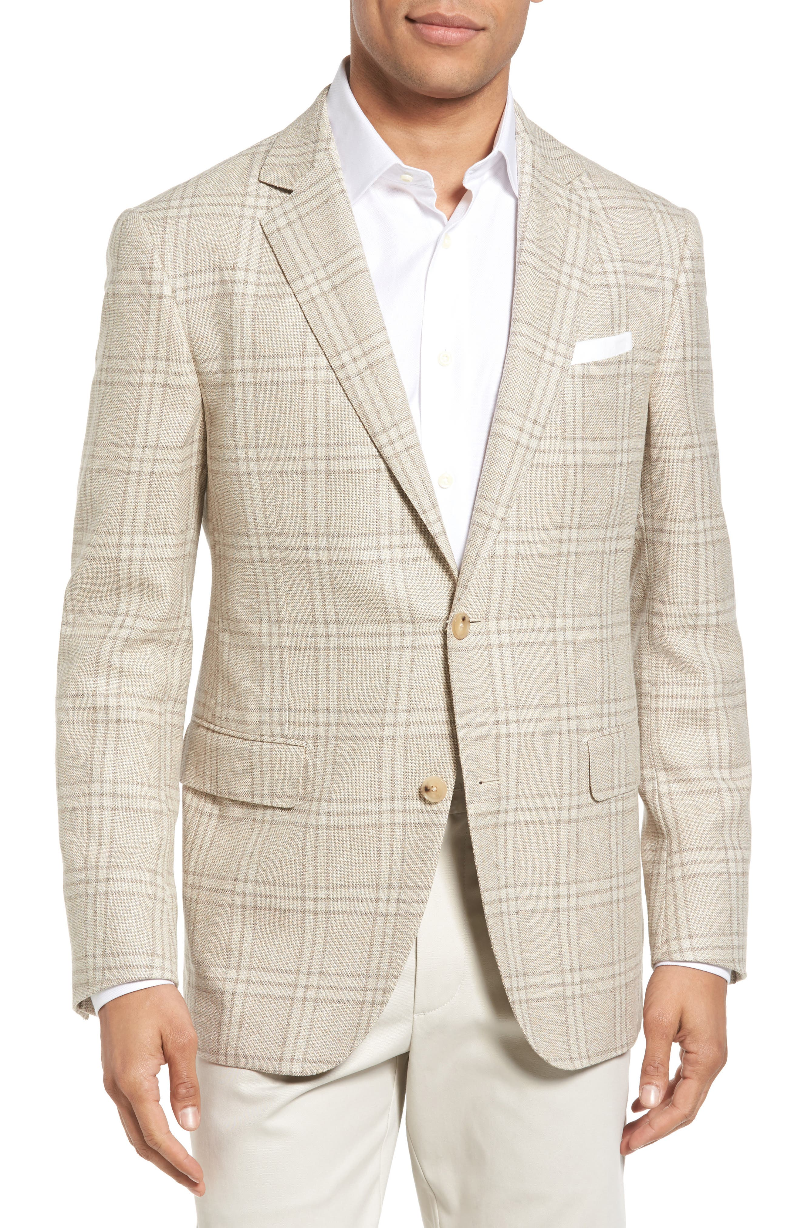 Plaid Wool Blend Sport Coat,                         Main,                         color, Beige