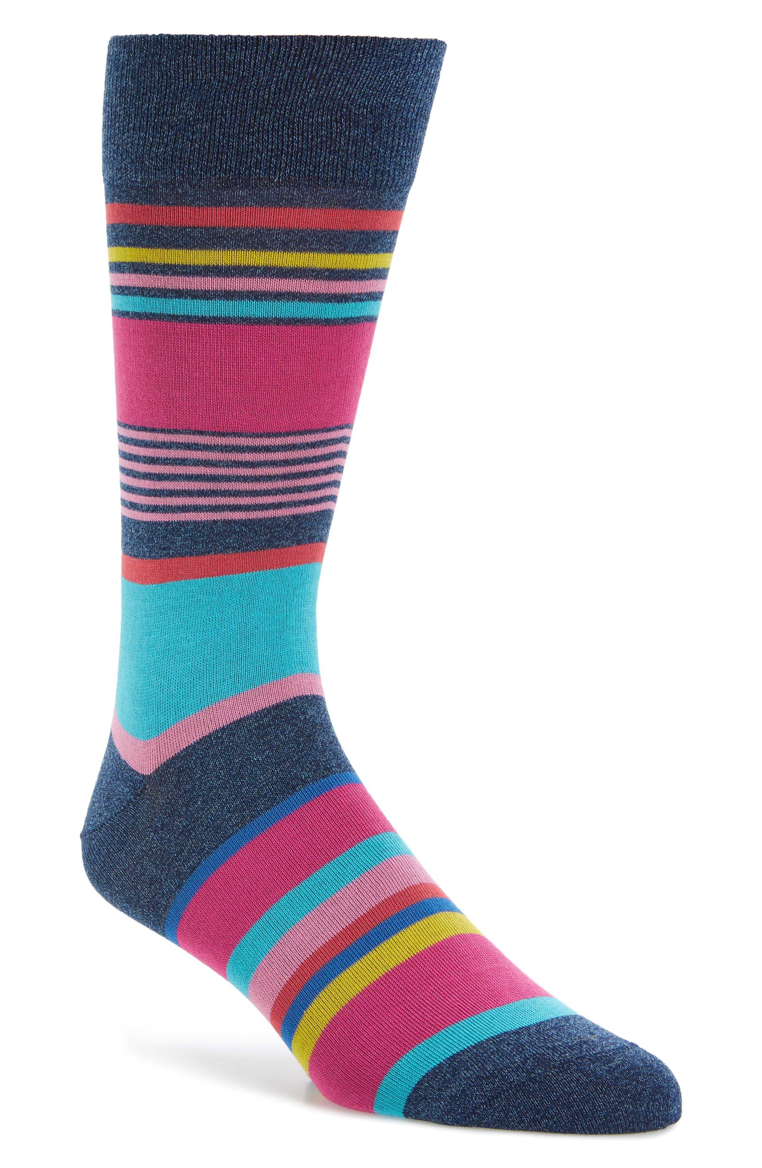 Stripe Socks,                         Main,                         color, Denim/ Pink