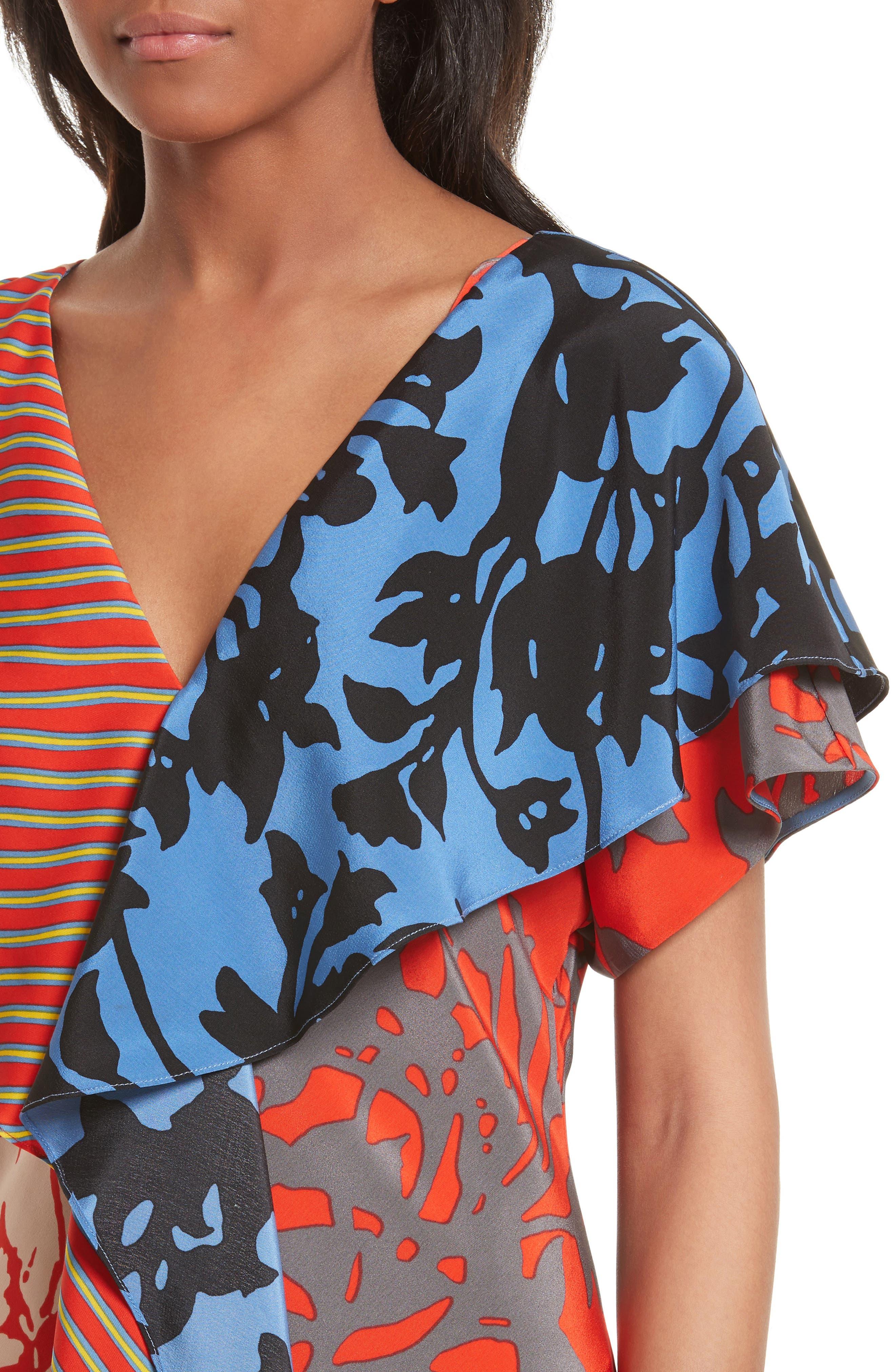 Alternate Image 4  - Diane von Furstenberg Mix Print Silk Ruffle Dress