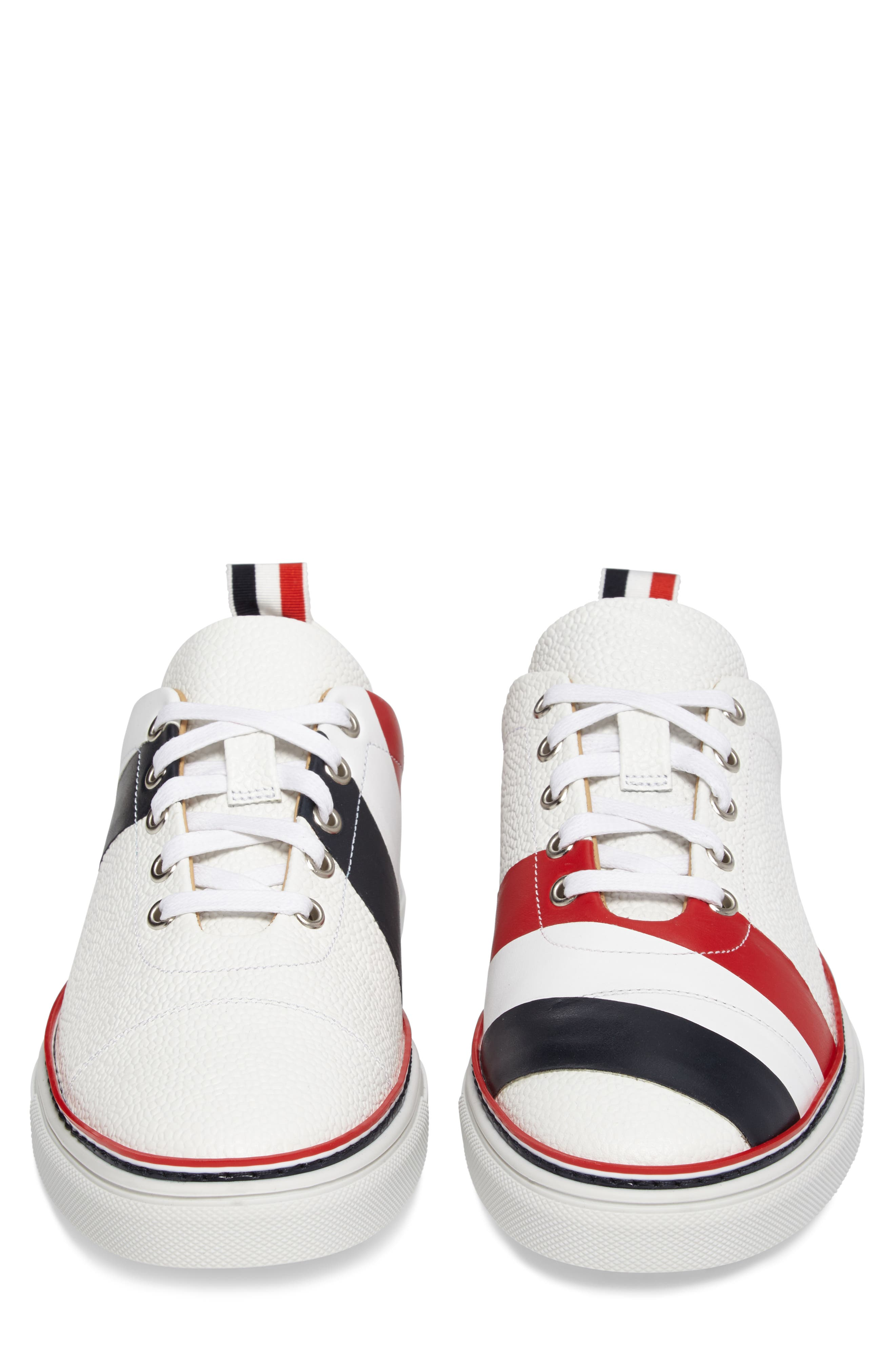 Asymmetrical Stripe Sneaker,                             Alternate thumbnail 4, color,                             100 White